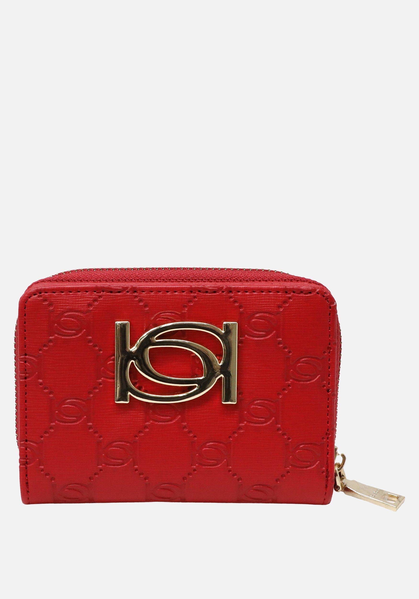 Bebe Women's Nina Emboss Compact Wallet in Red Polyester