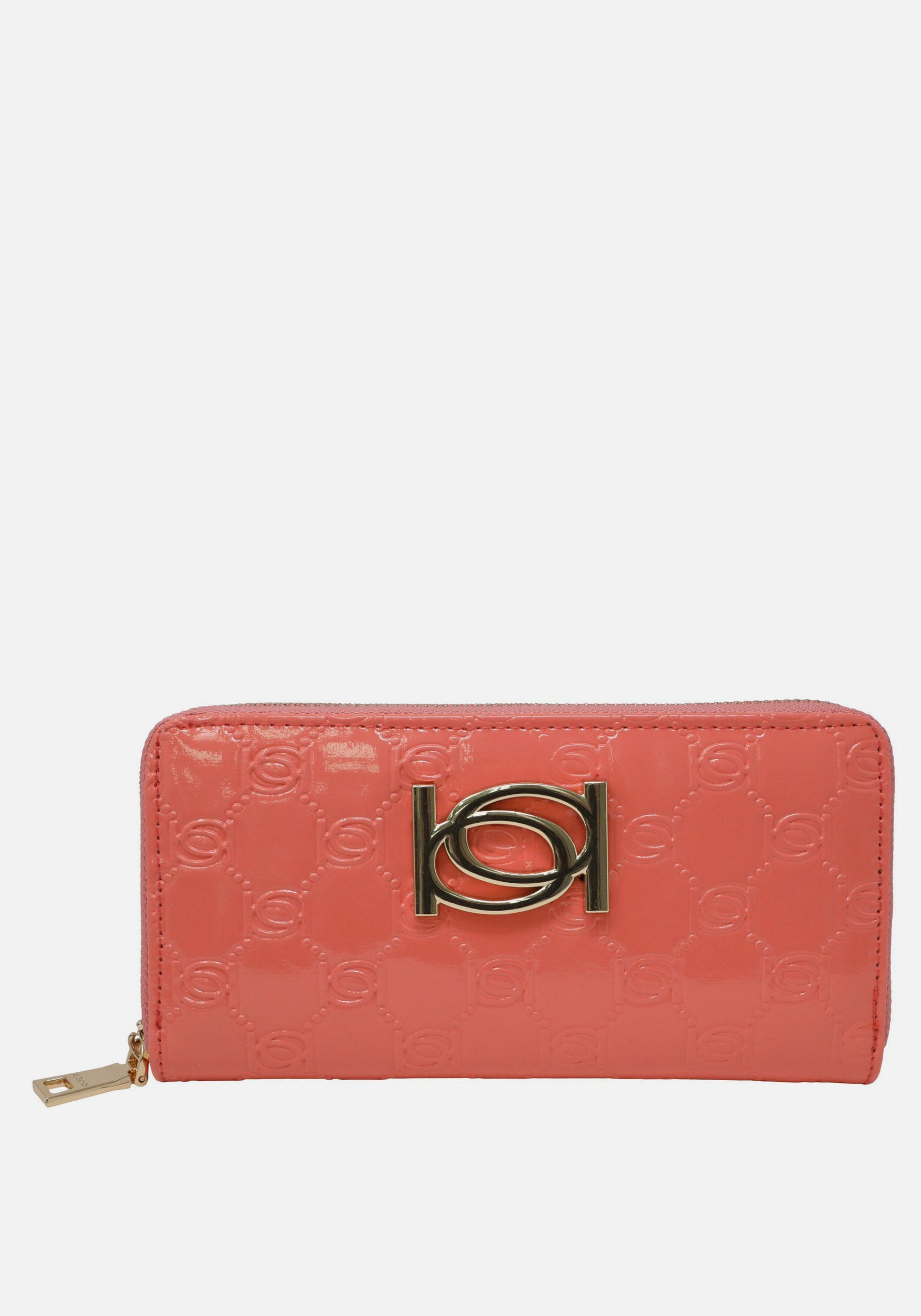Bebe Women's Esme Patent Popped Monogram Wallet in Coral Polyester