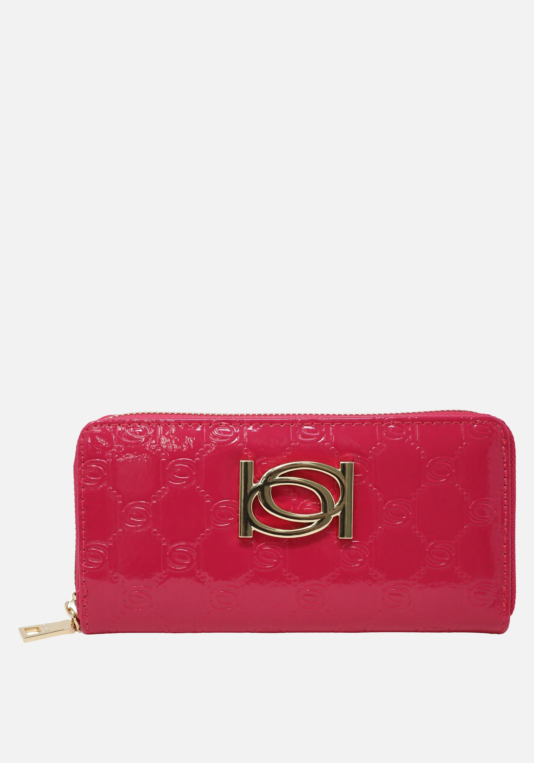 Bebe Women's Esme Patent Popped Monogram Wallet in Fushia Polyester