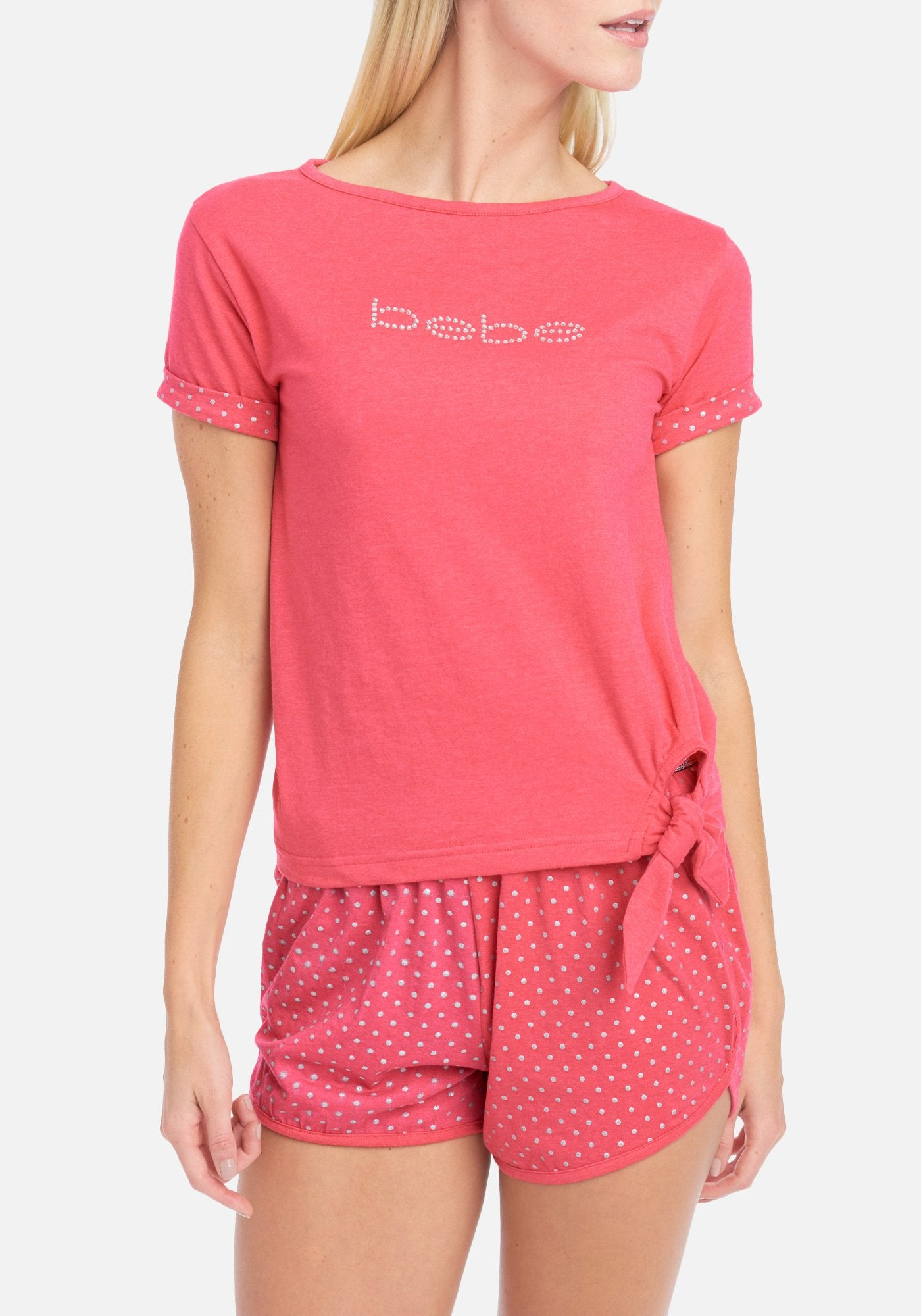 Women's Bebe Polka Dot 2 Piece Short Set, Size Small in Bright Rose Heather Spandex