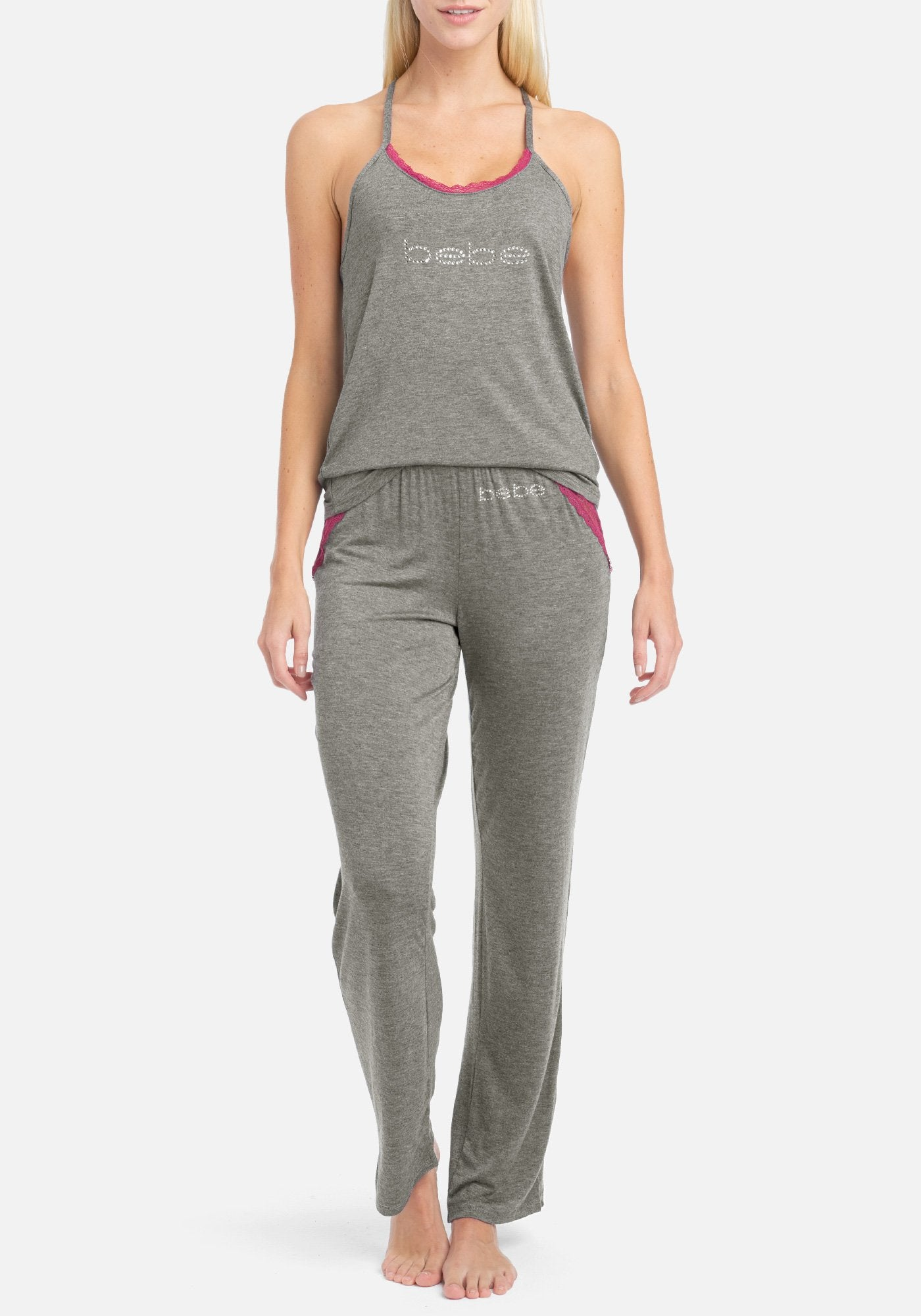 Women's Bebe Lace Contrast Pant Set, Size Small in Charcoal Heather Spandex