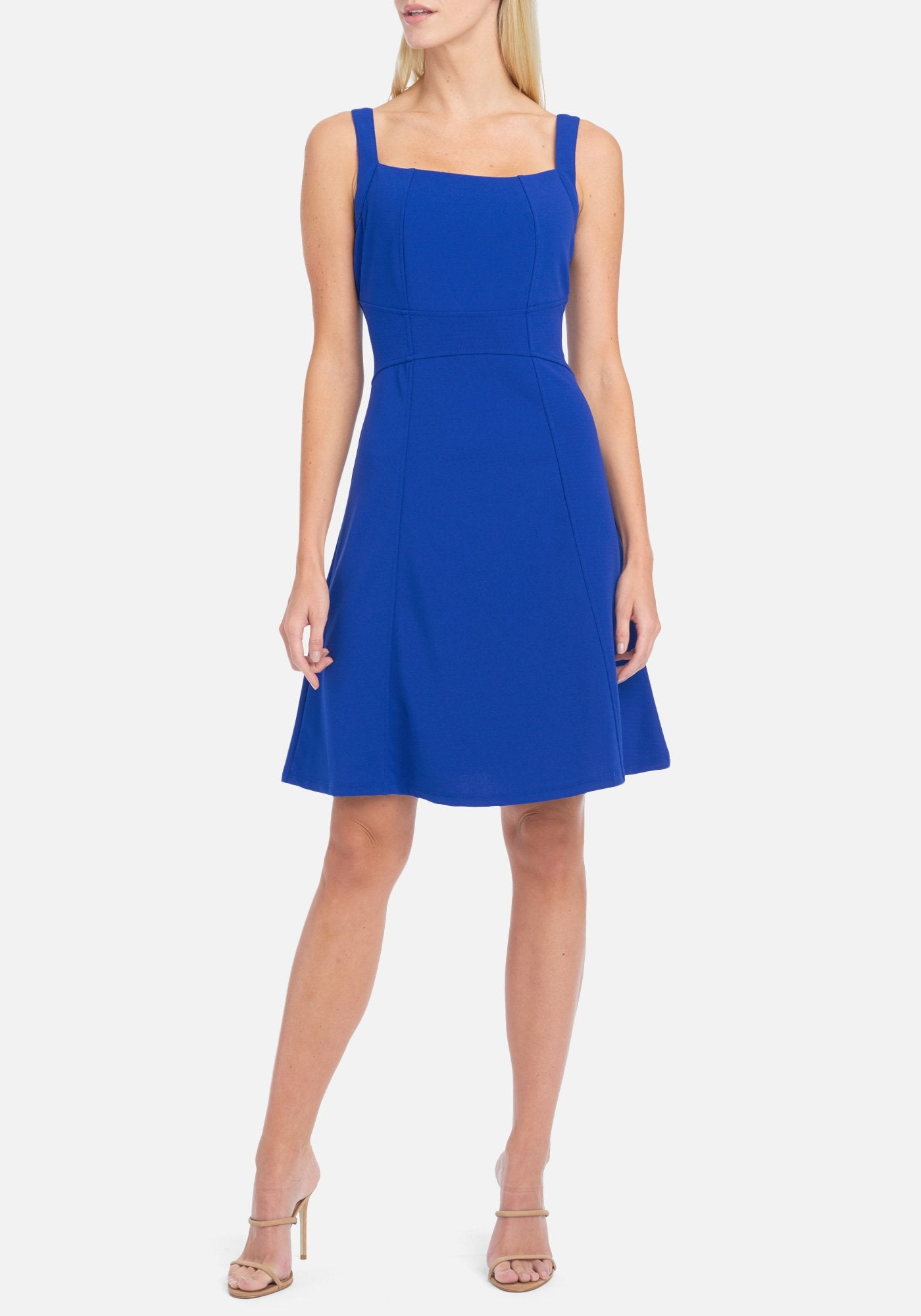 Bebe Women's Fit And Flare Dress, Size 4 in Royal Spandex