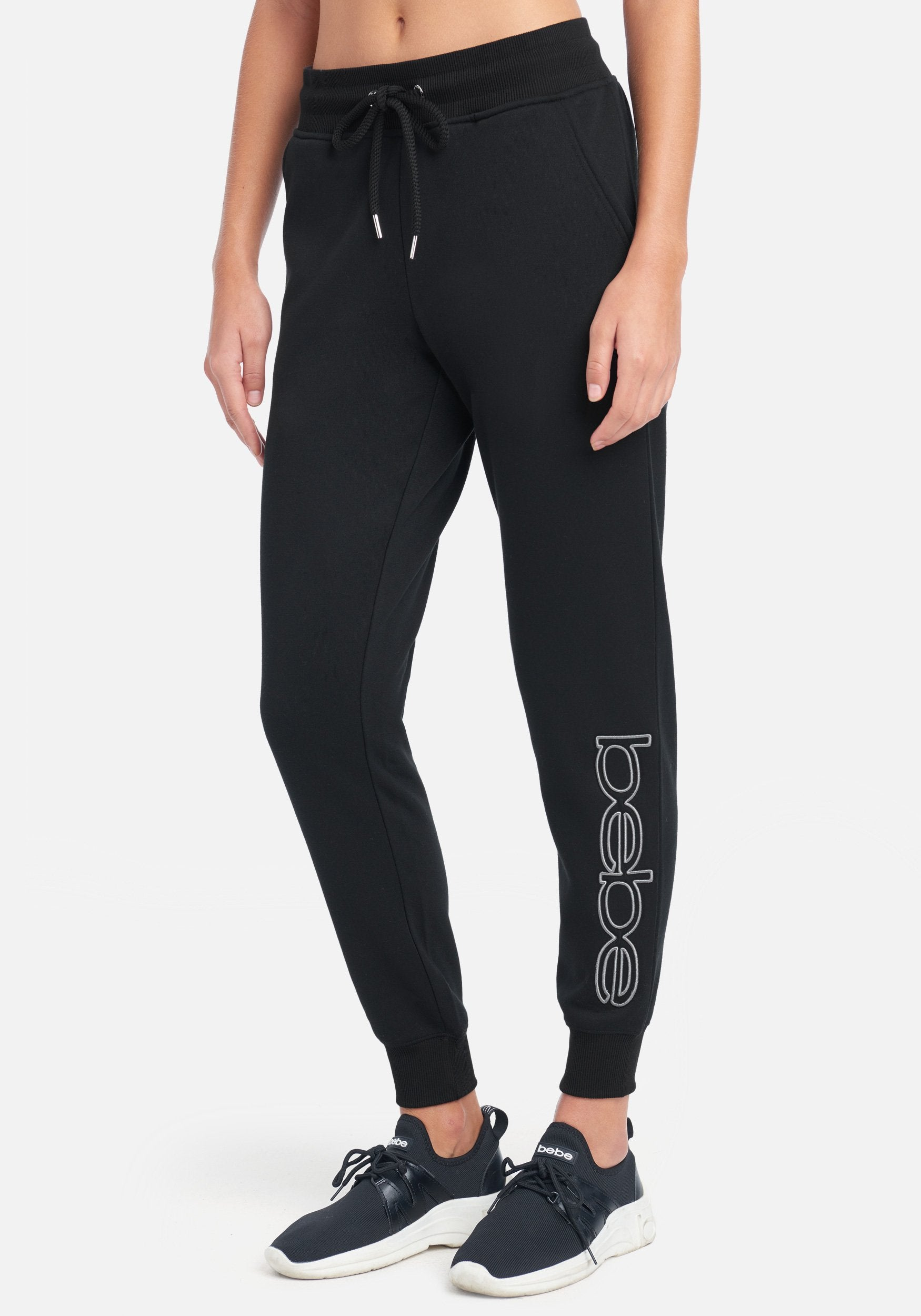 Women's Bebe Sport Embroidered Logo Jogger Pant, Size Small in Black Cotton