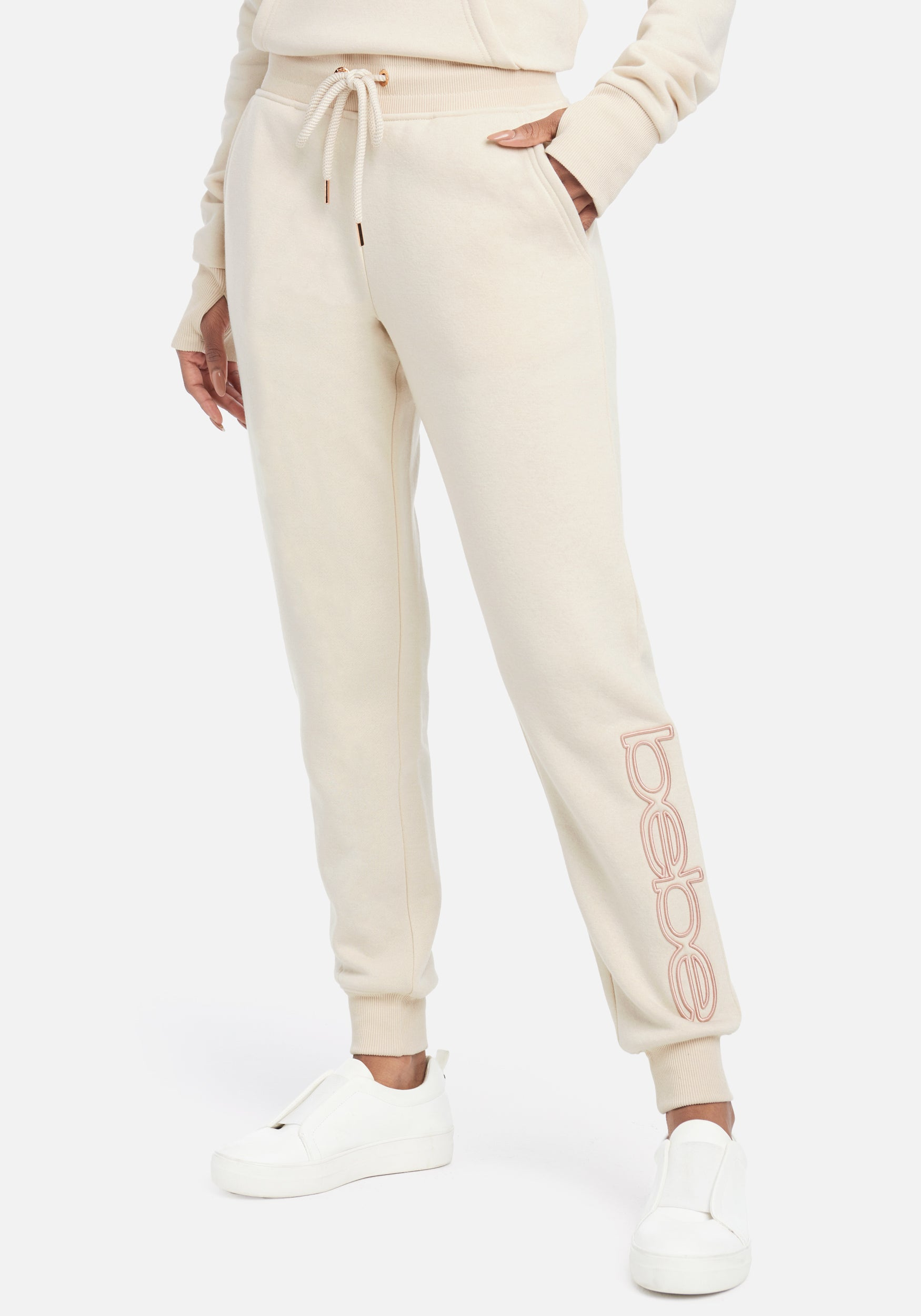 Women's Bebe Sport Embroidered Logo Jogger Pant, Size Small in Ivory Cotton