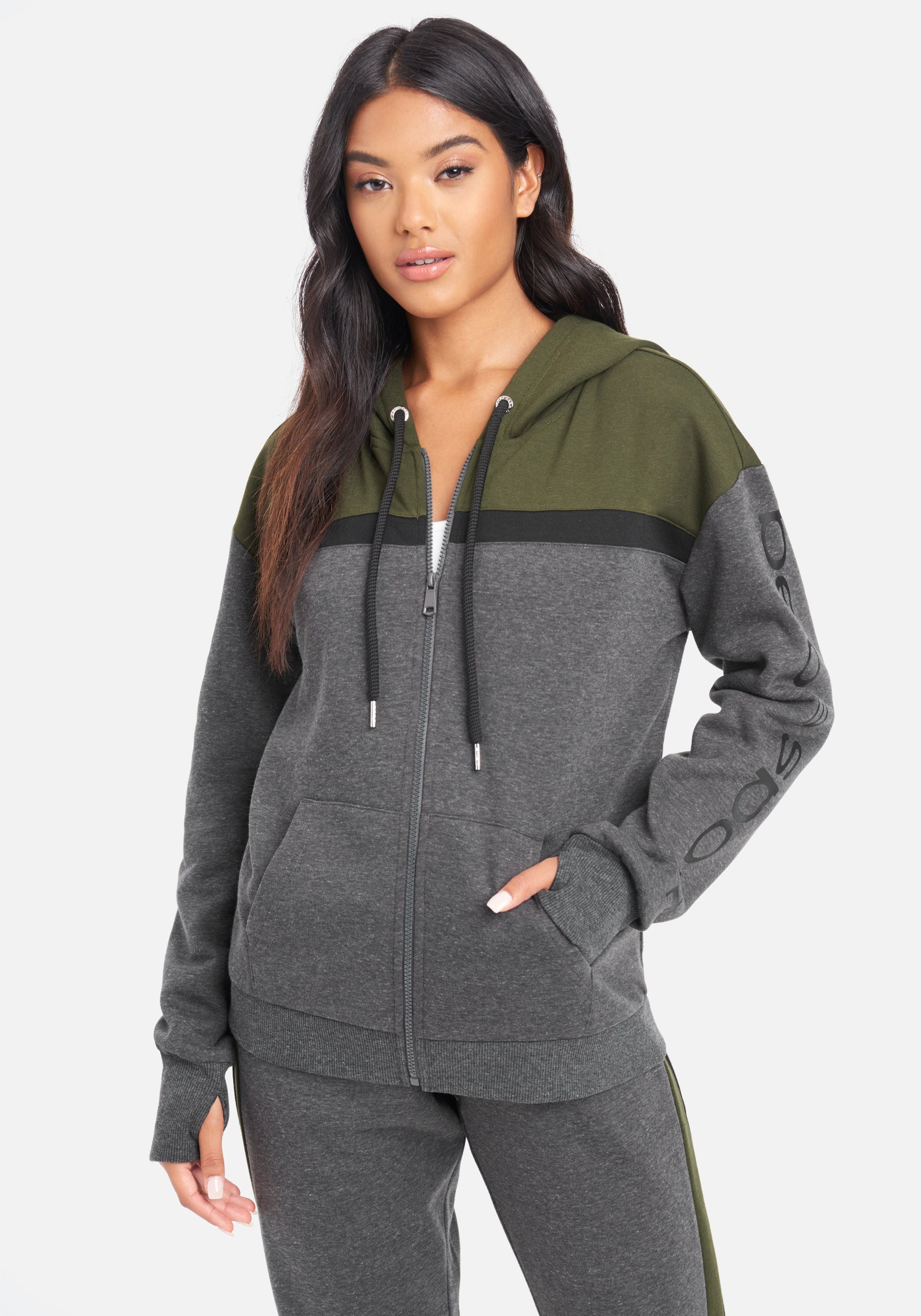 Image of Women's Bebe Sport Color Stripe Jacket, Size Small in Charcoal Grey