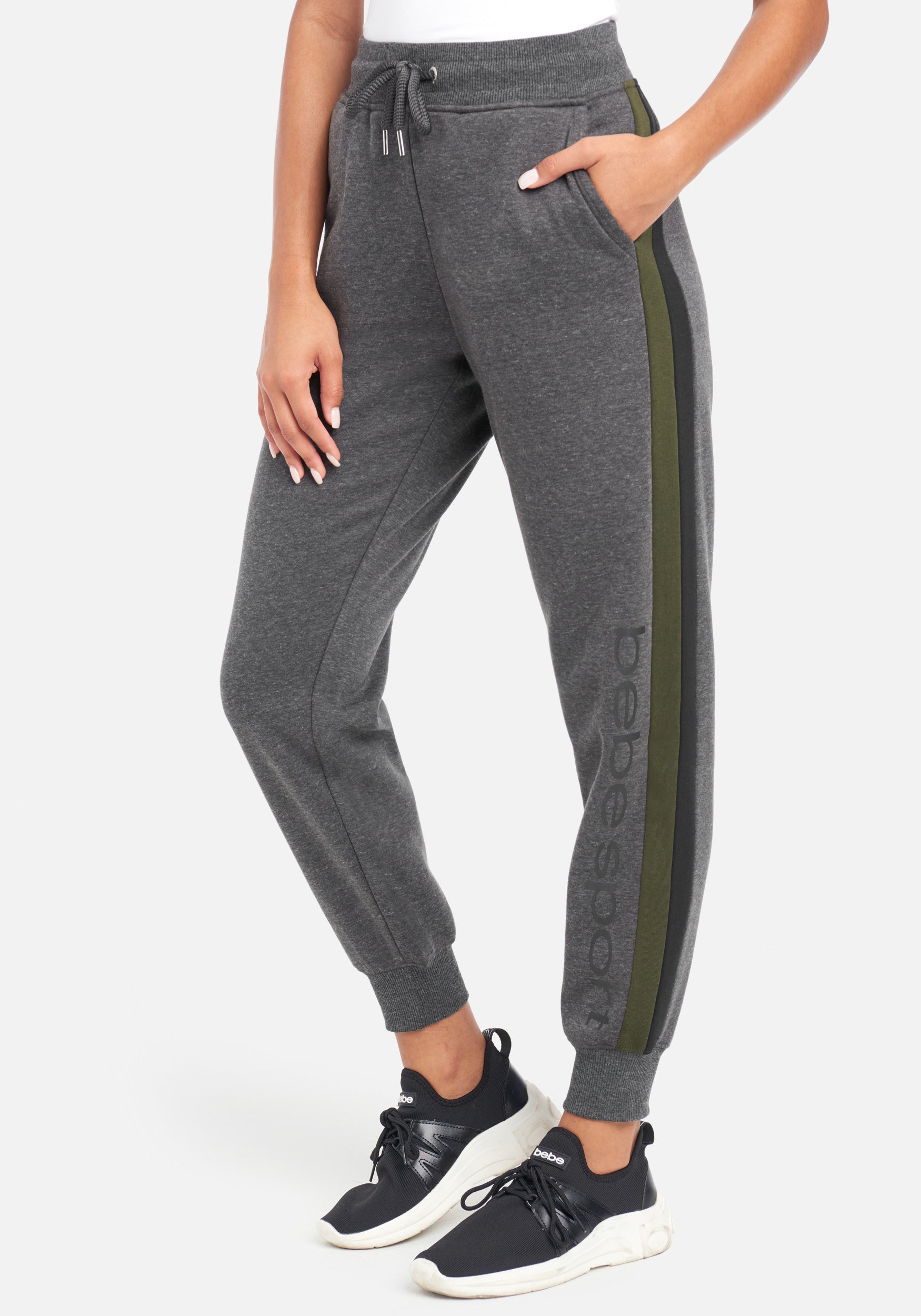 Women's Bebe Sport Color Stripe Jogger Pant, Size Small in Charcoal Grey