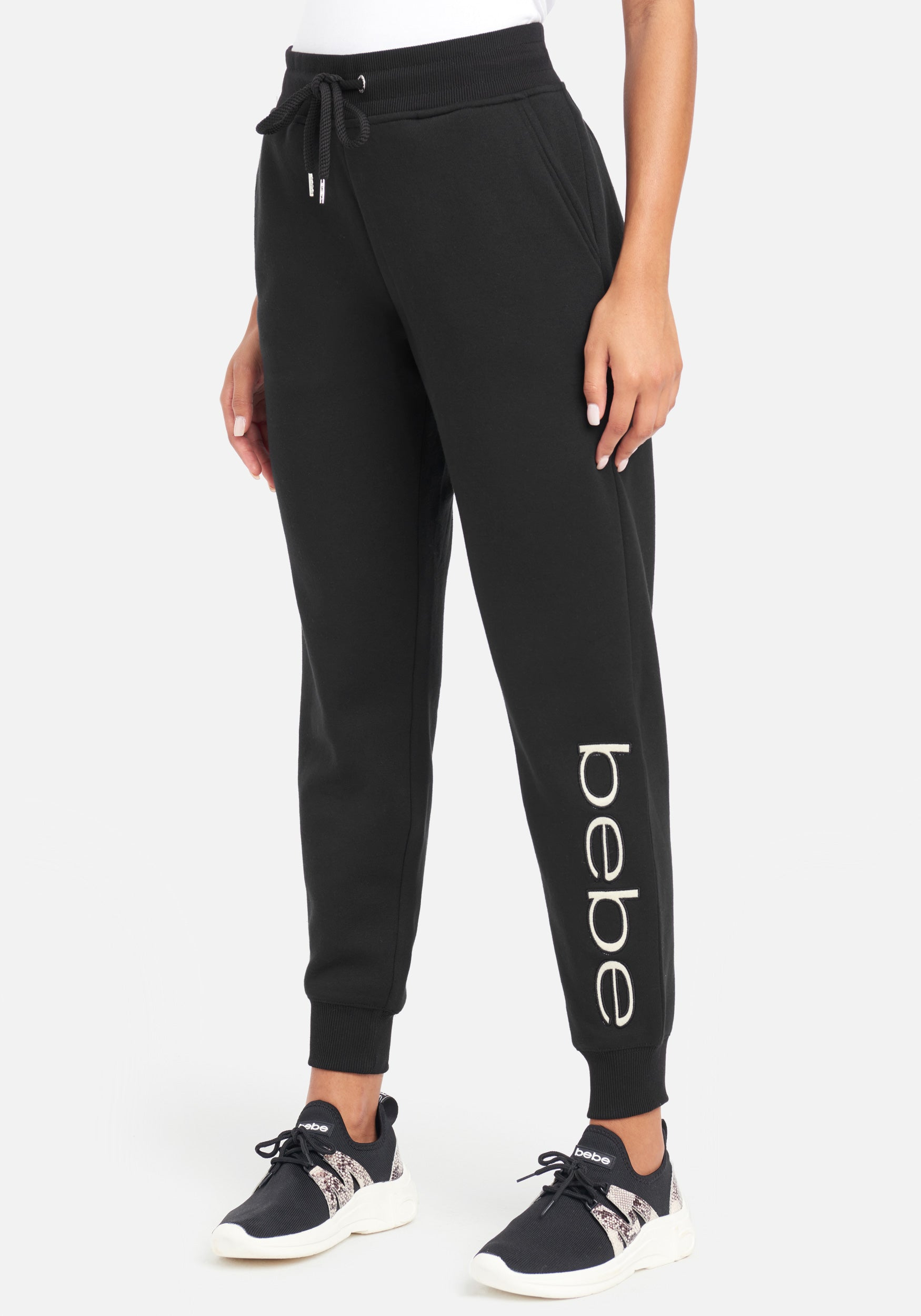 Women's Bebe Sport Sherpa Logo Patch Jogger Pant, Size Small in Black