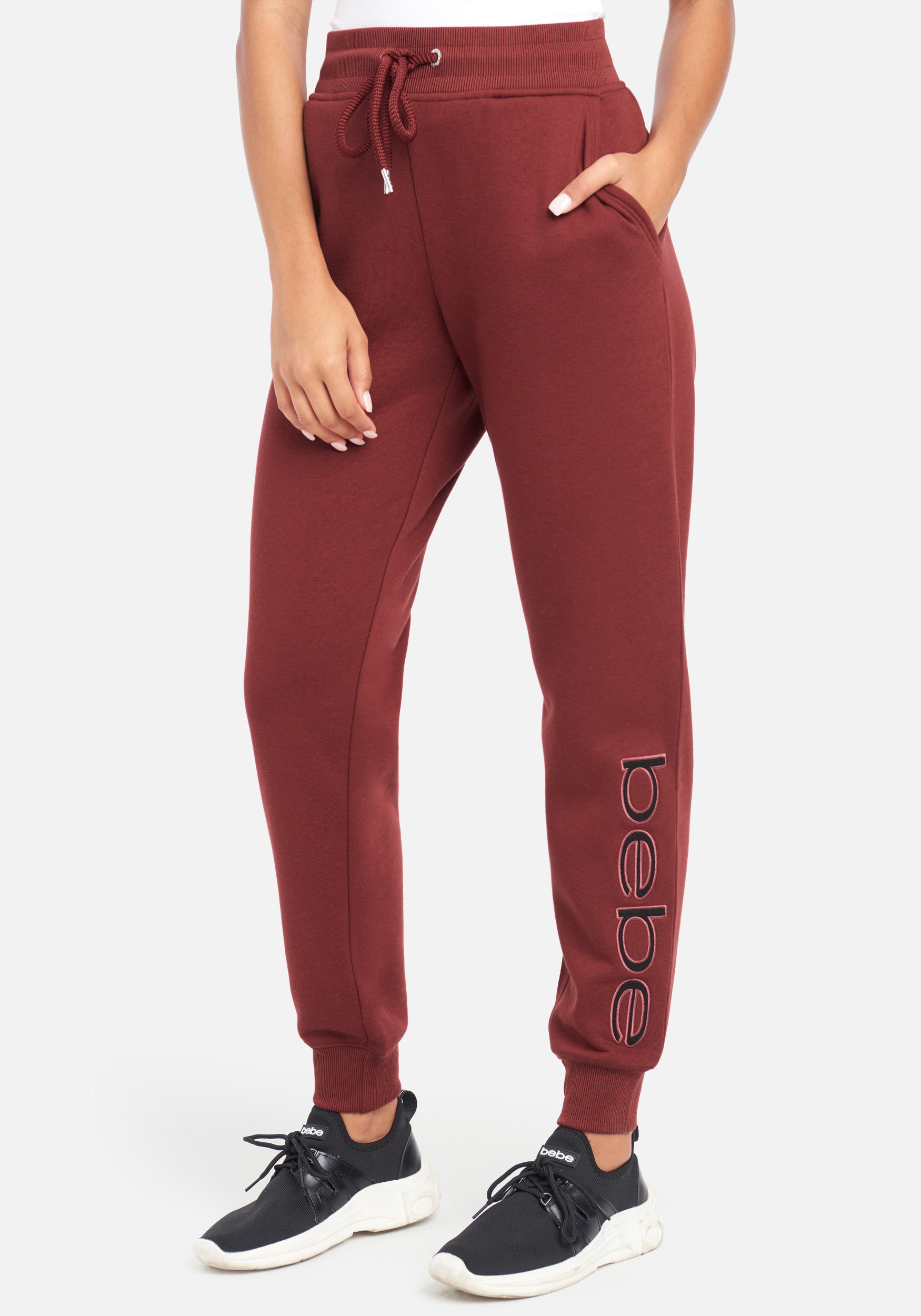 Women's Bebe Sport Sherpa Logo Patch Jogger Pant, Size Small in Wine