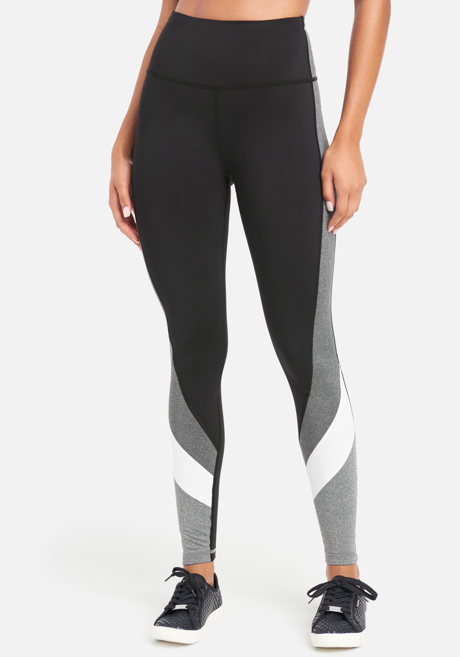 Women's Bebe Sport Color Block Legging, Size Small in Black/Charcoal