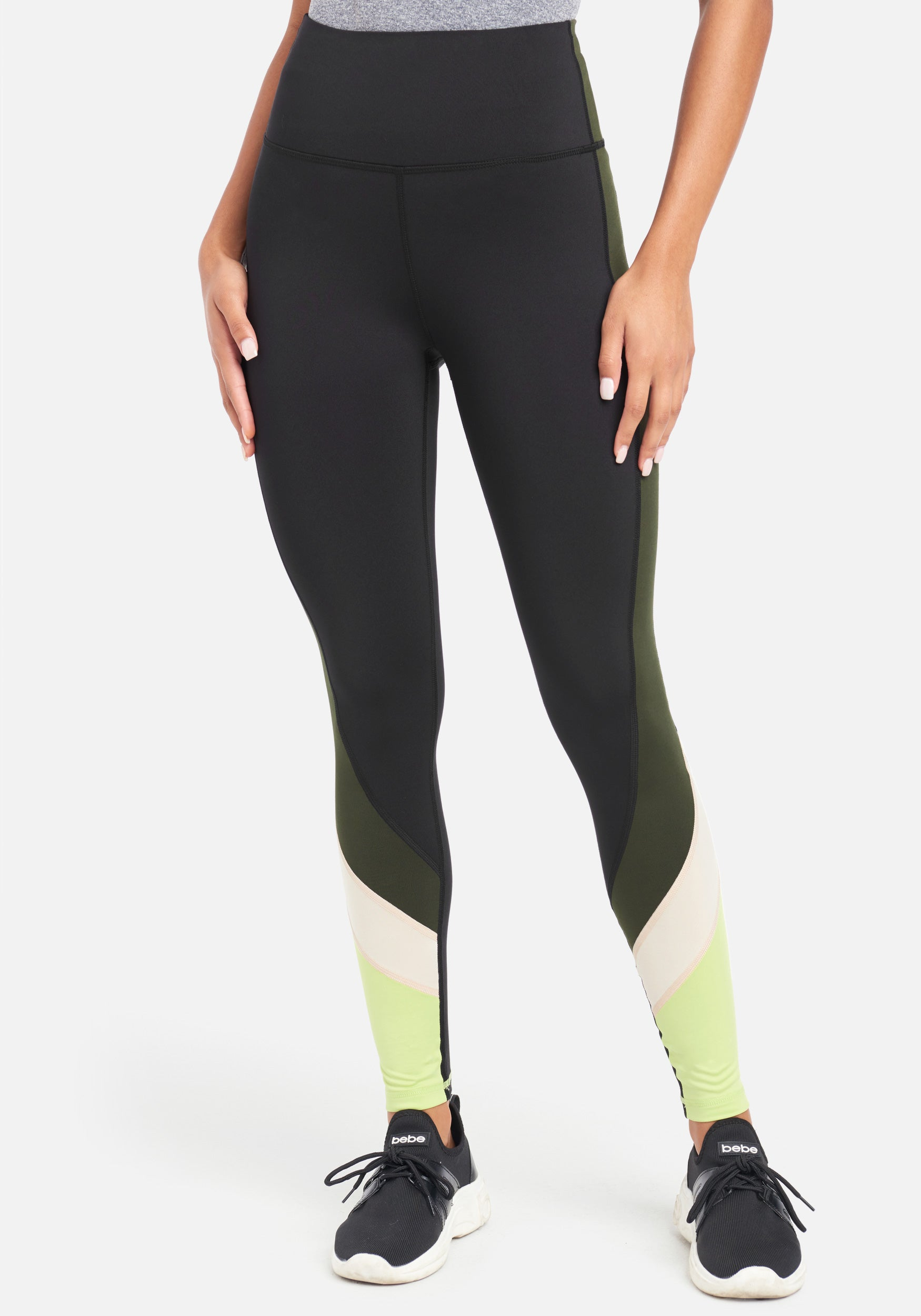 Women's Bebe Sport Color Block Legging, Size Small in Black/Forest