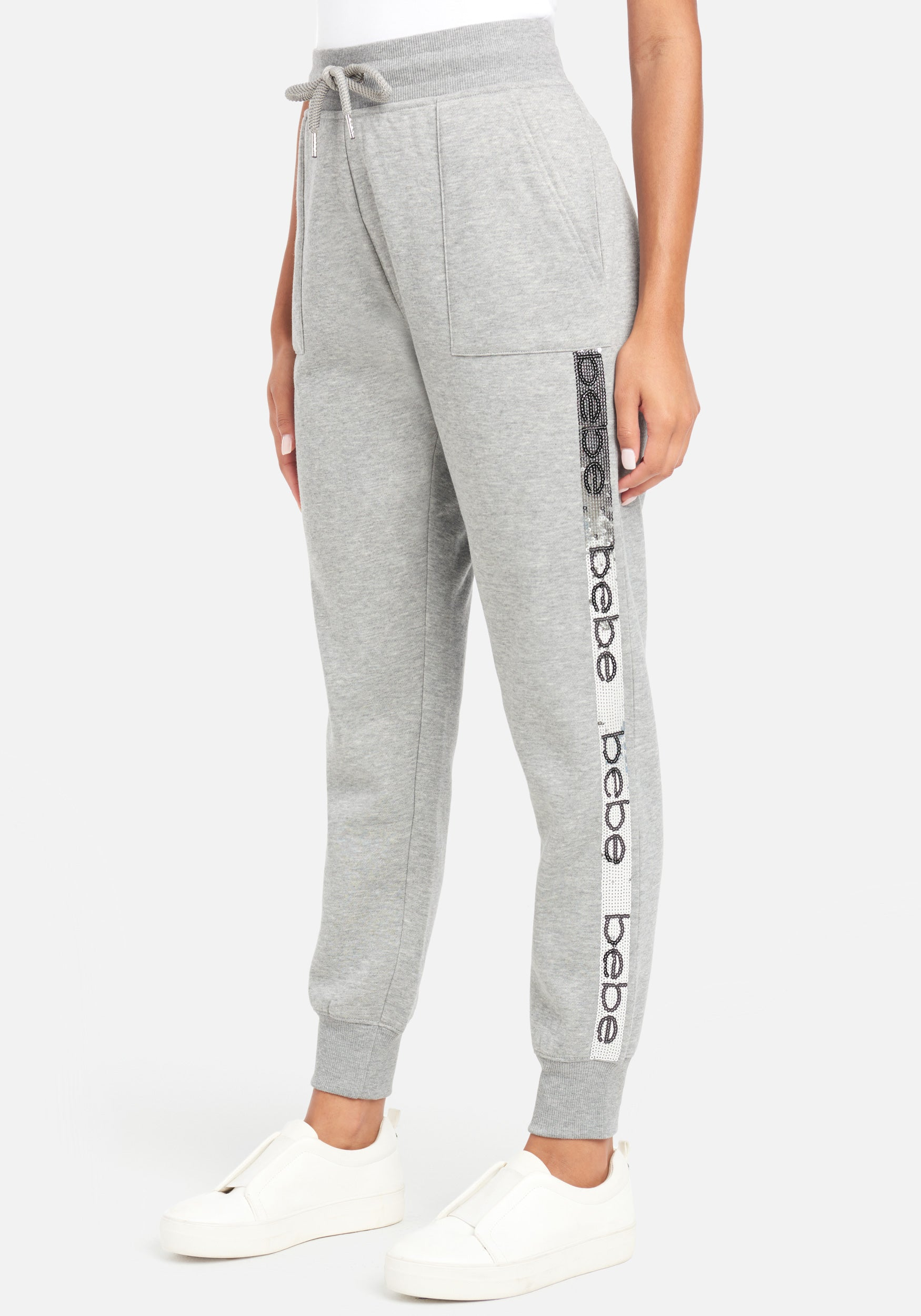 Women's Bebe Sequin Stripe Jogger Pant, Size Small in Heather Grey