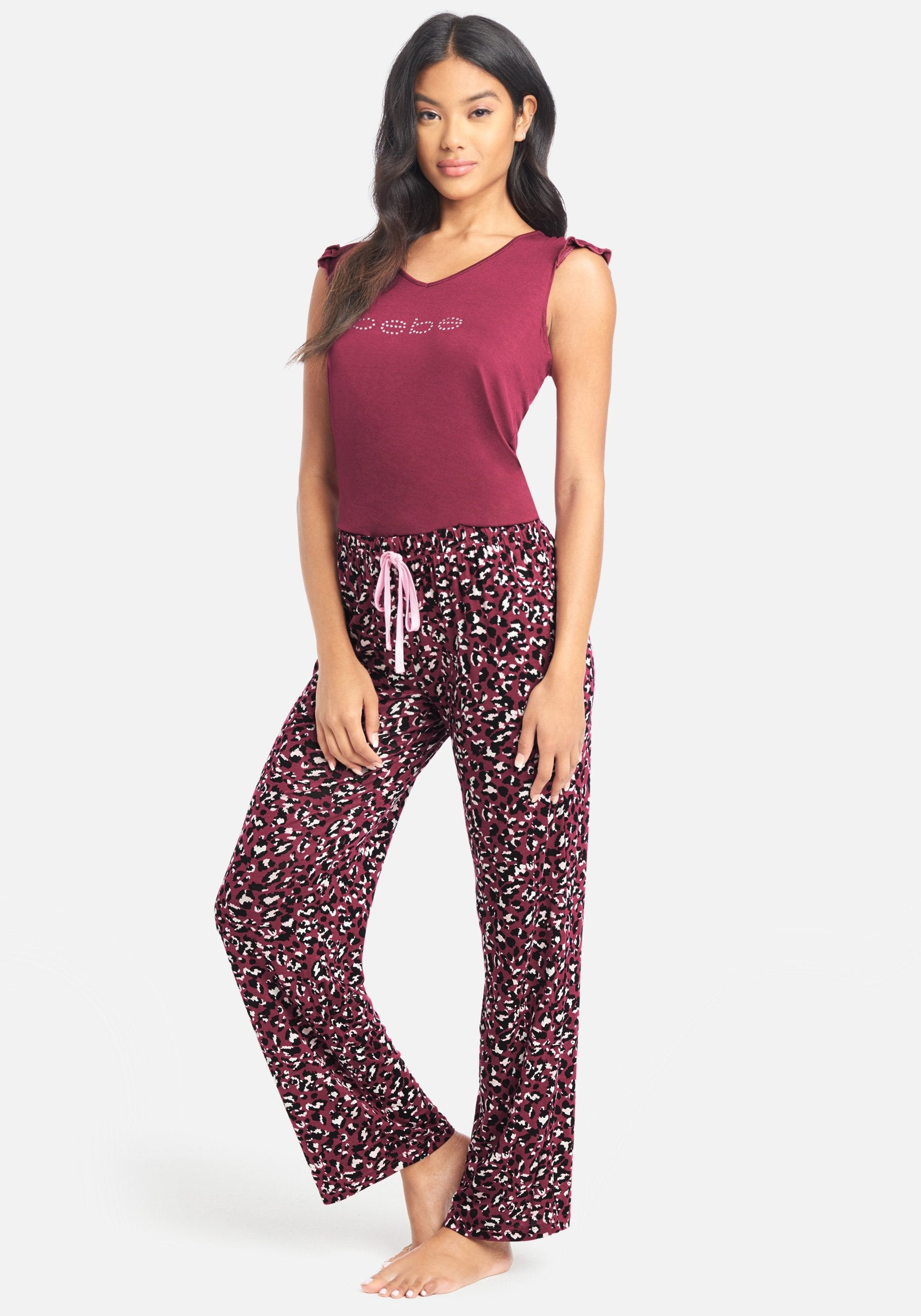 Women's Bebe Printed Pant Set, Size Small in Plum Spandex