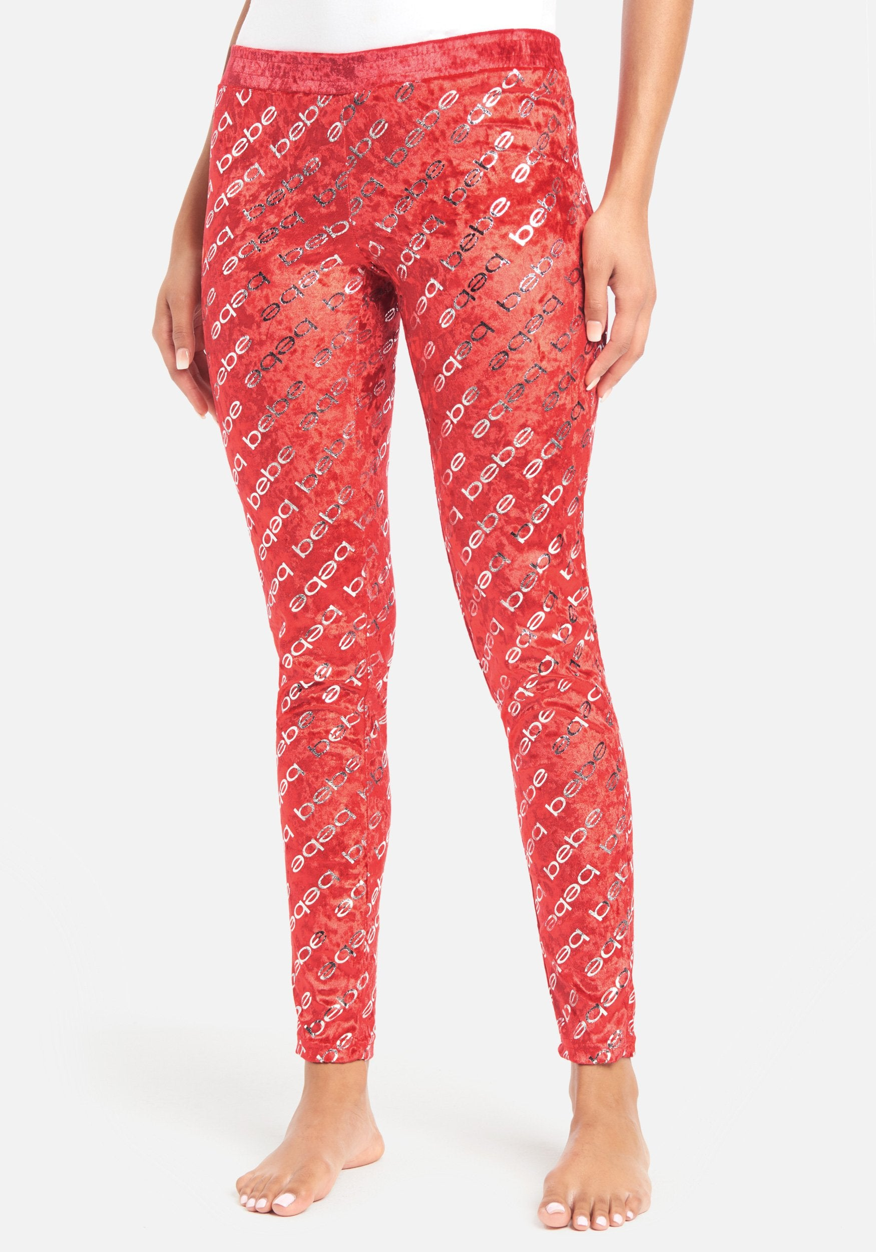 Women's Allover Bebe Lounge Pant, Size Small in Red Polyester