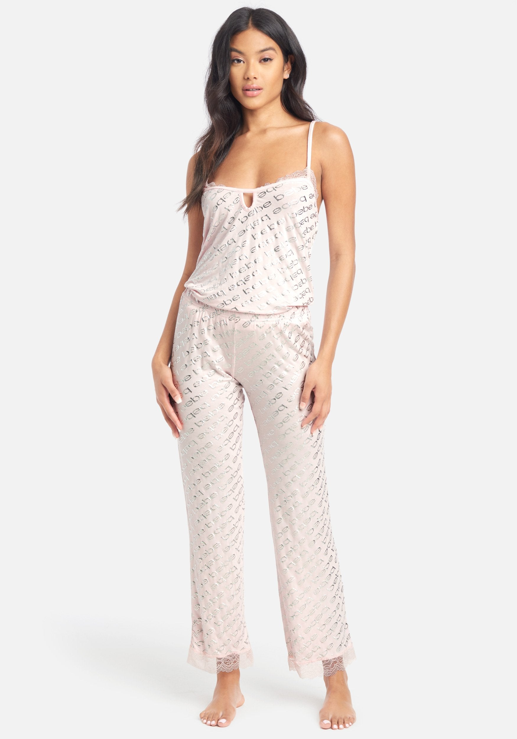 Women's Printed Bebe Foil Pant Set, Size Small in Light Pink Spandex