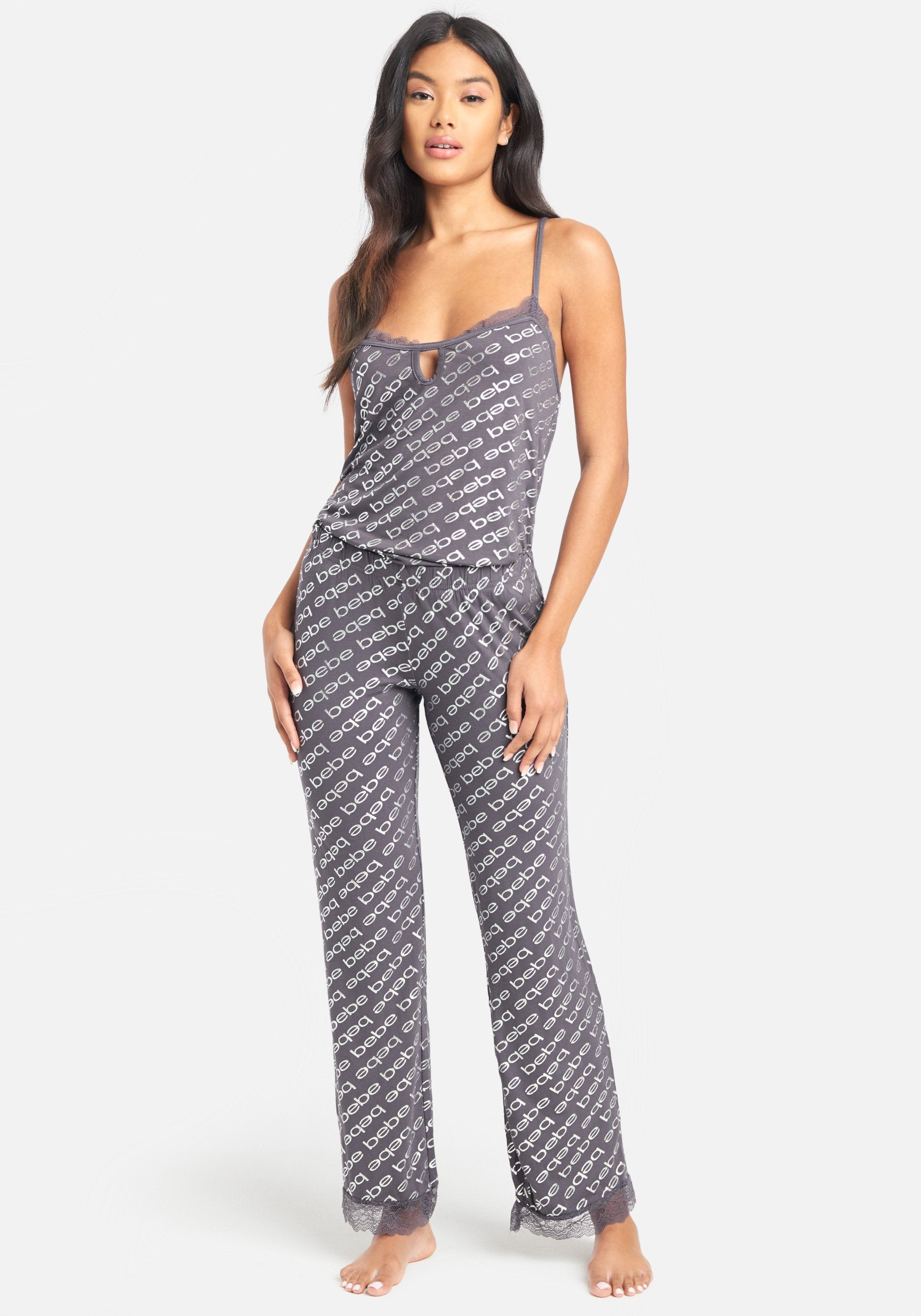 Women's Printed Bebe Foil Pant Set, Size Small in Midnight Lava Spandex