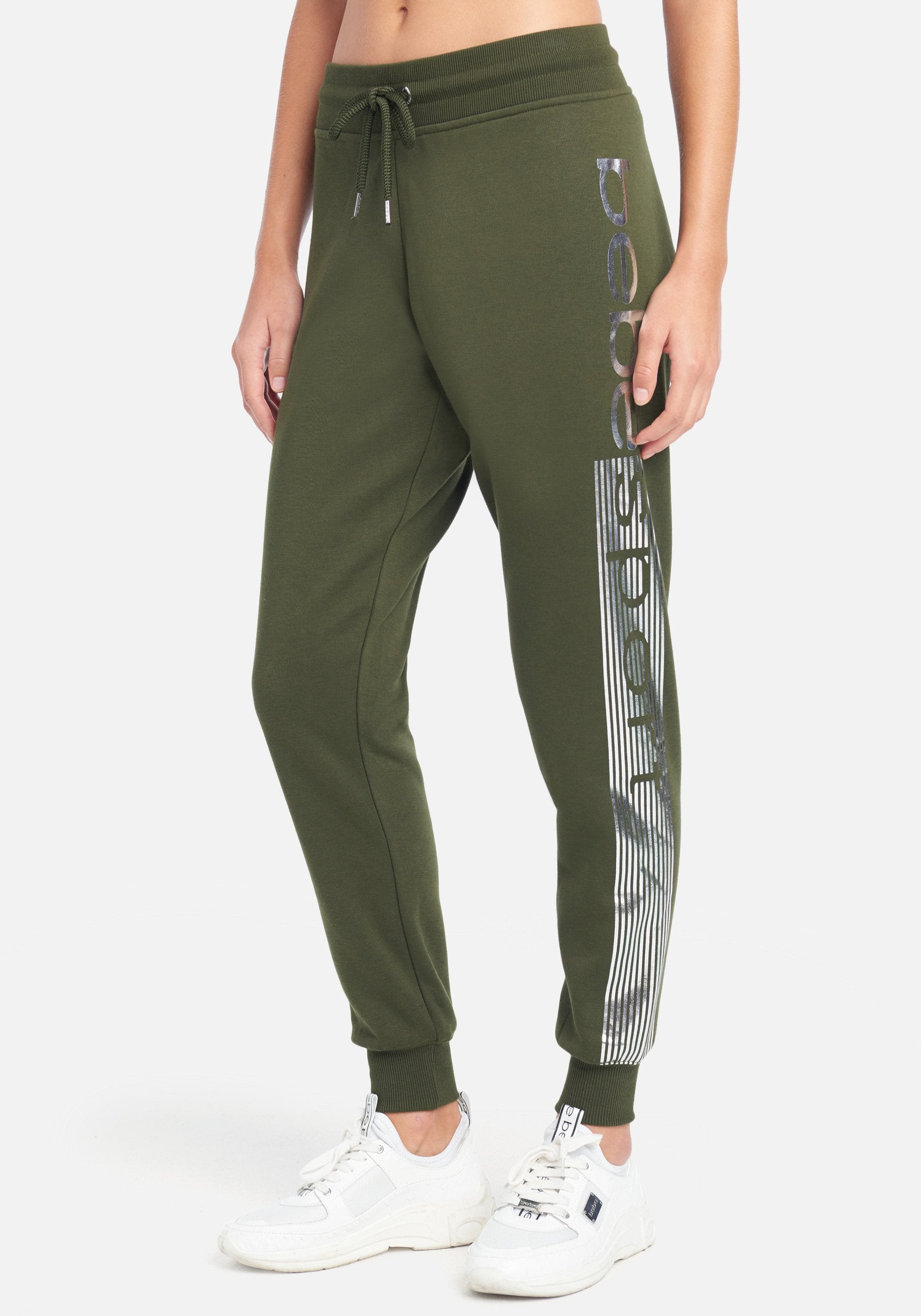 Women's Bebe Sport Stripe Jogger Pant, Size Small in Forest Cotton