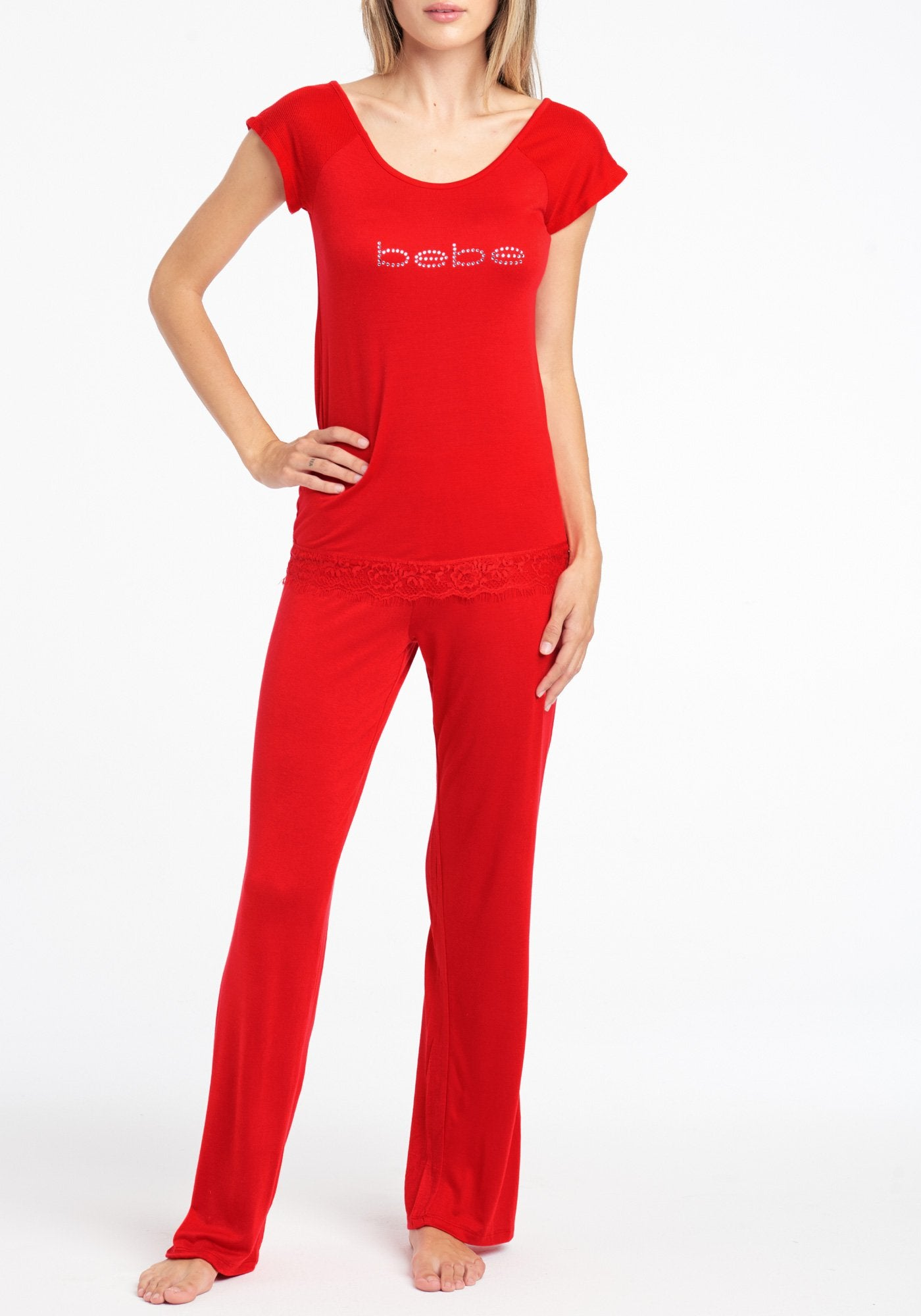 Women's Bebe Lace Trim Pant Set, Size Small in Red Spandex