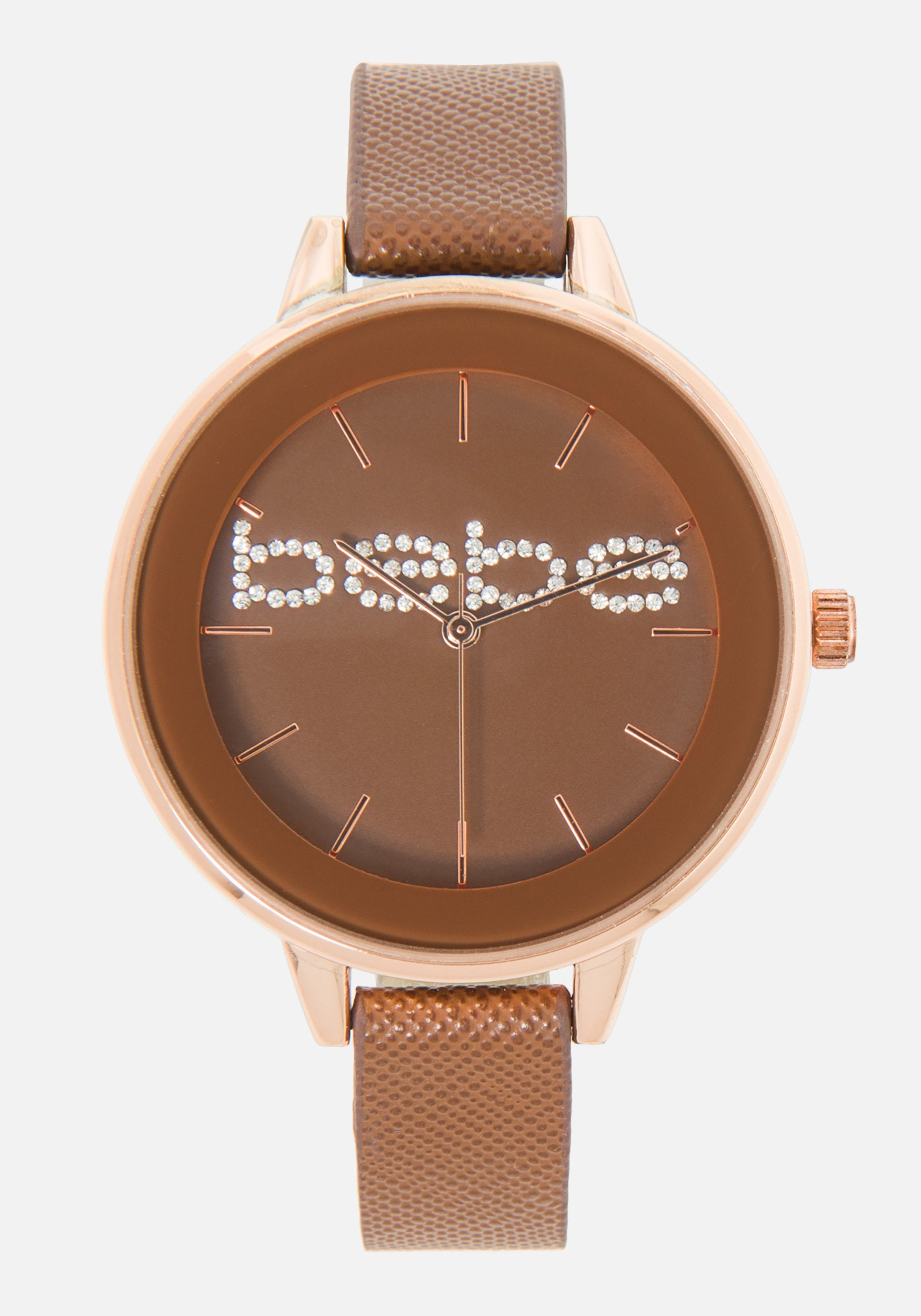 Women's Bebe Embossed Safino Strap Watch in Rosegold/Brown Metal