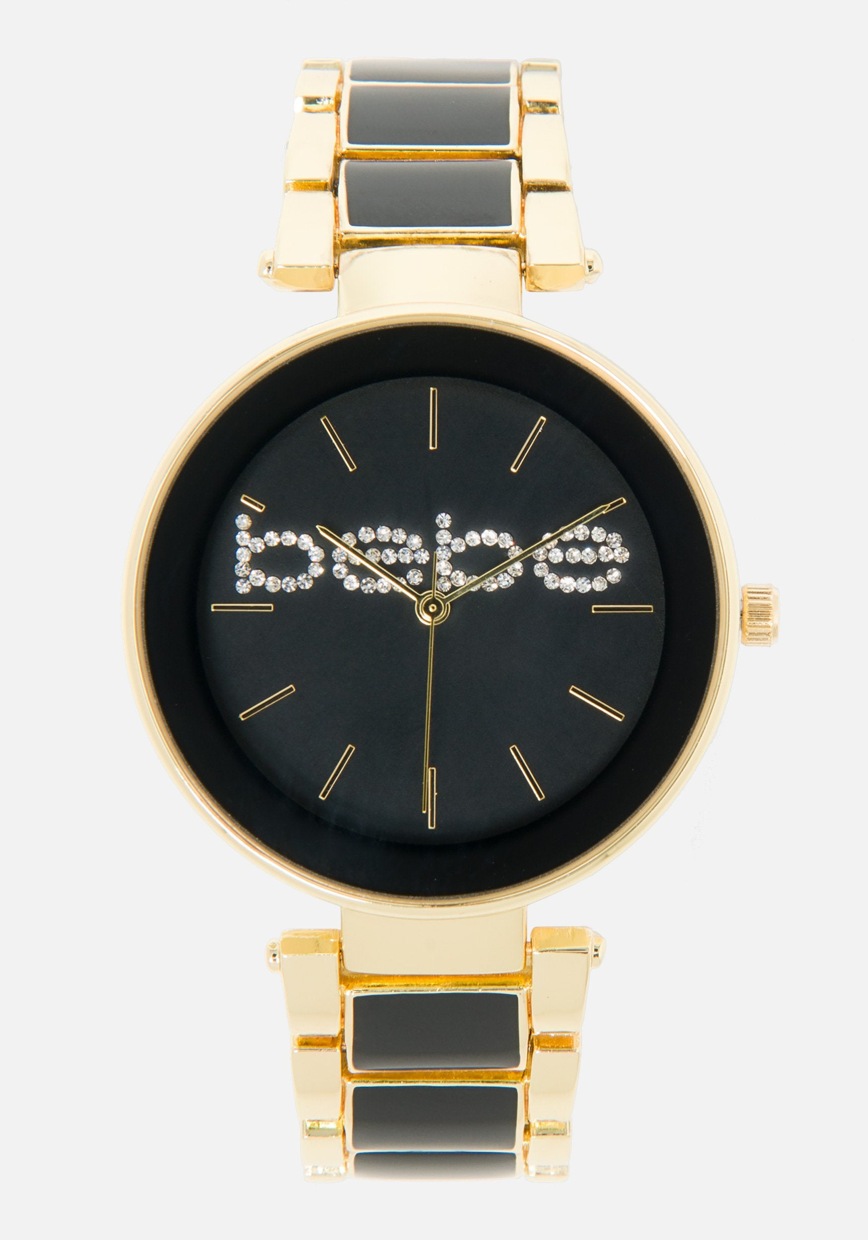 Women's Bebe Embossed Enamel Link Watch in Gold/Black Metal