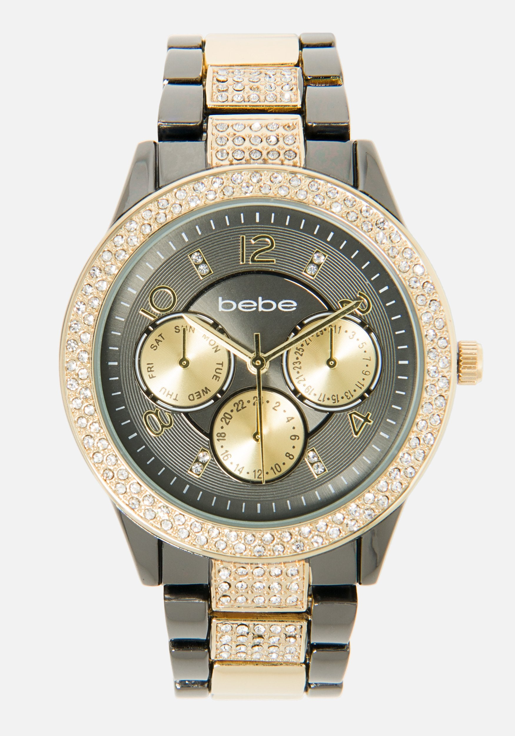Women's Bebe Double Row Crystal Watch in Gold/Gunmetal