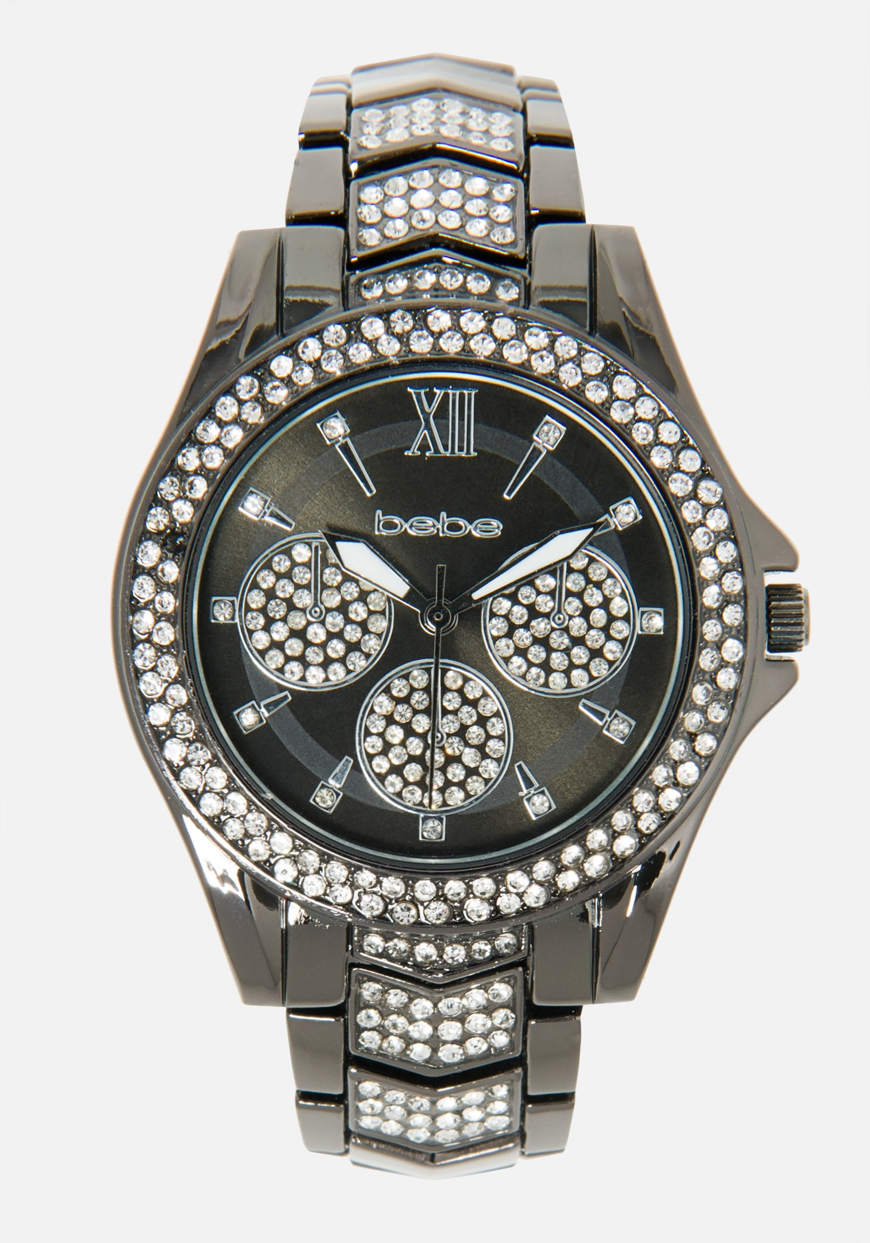 Women's Bebe Crystal Accent Link Watch in Gunmetal