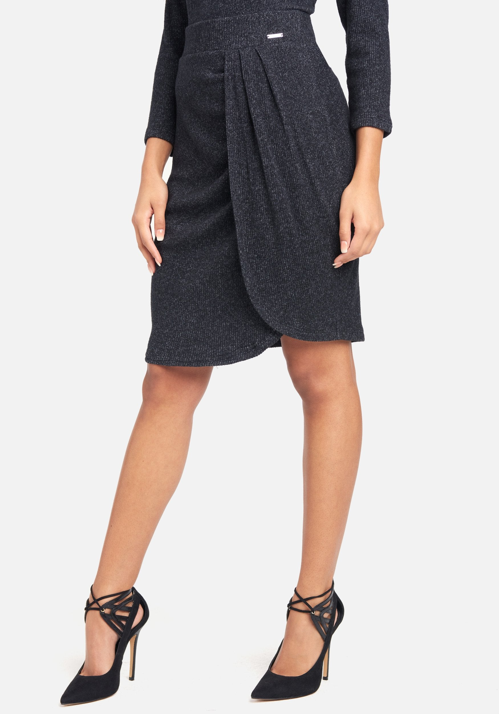 Bebe Women's High Waist Heathered Knit Wrap Skirt, Size XS in Charcoal Grey Spandex/Viscose