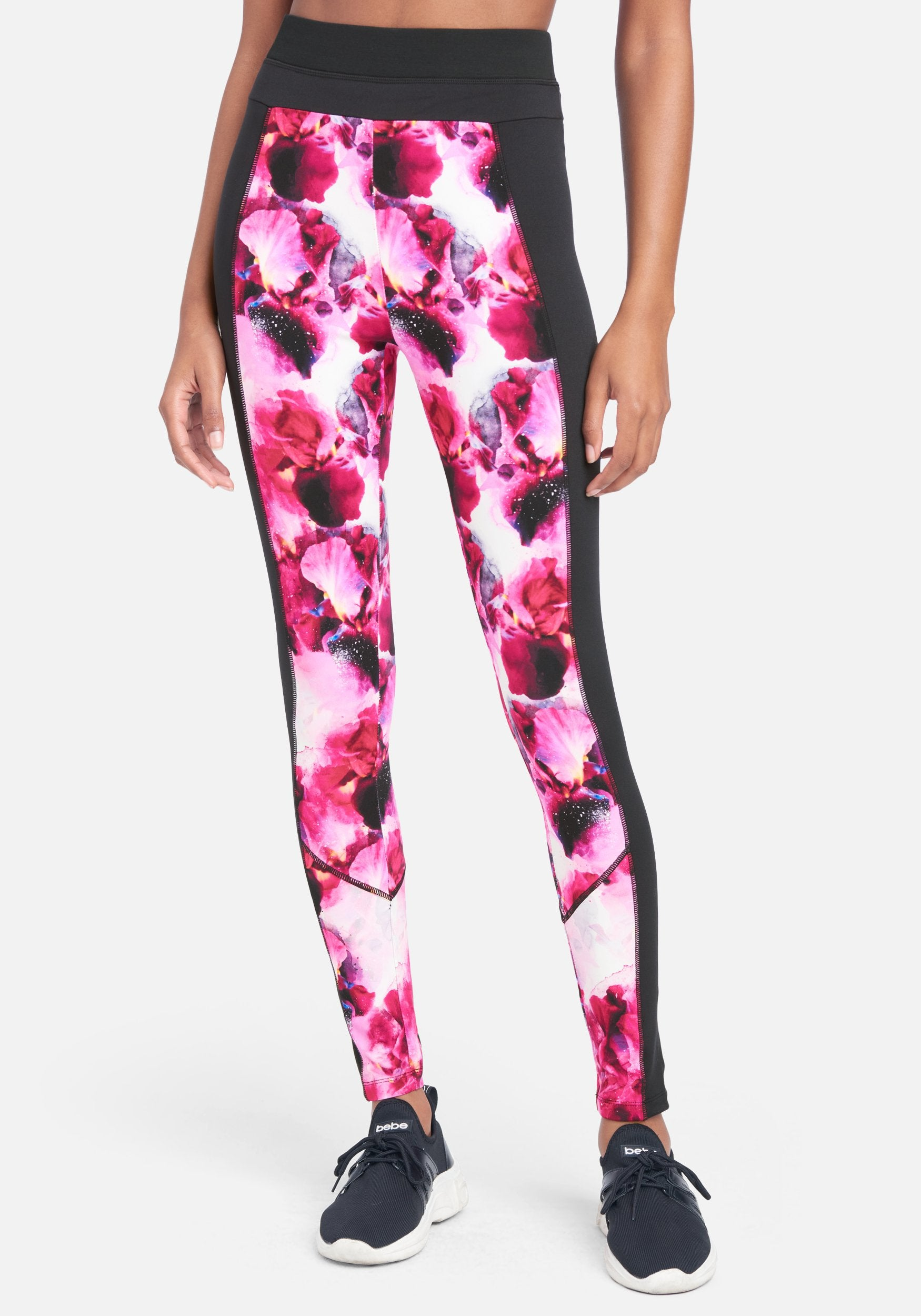 Bebe Women's Printed Contrast Leggings, Size XS in Floral Fantasy Spandex