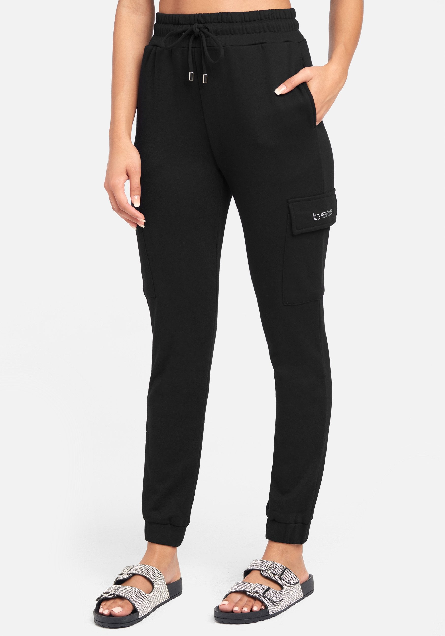 Women's Bebe Logo French Terry Cargo Pant, Size XS in Black Spandex