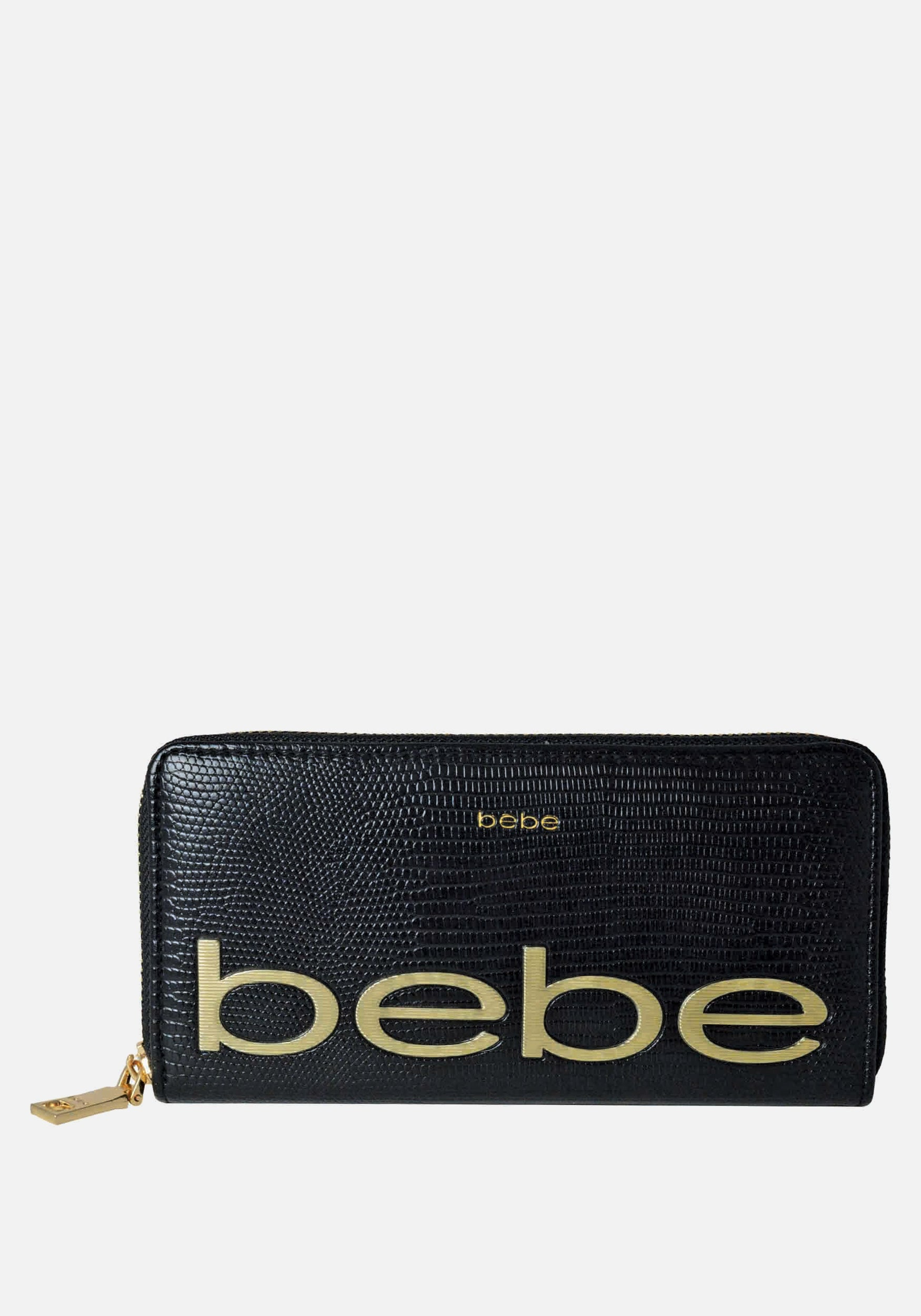 Bebe Women's Fabiola Stamped Lizard Wallet in Black Polyester
