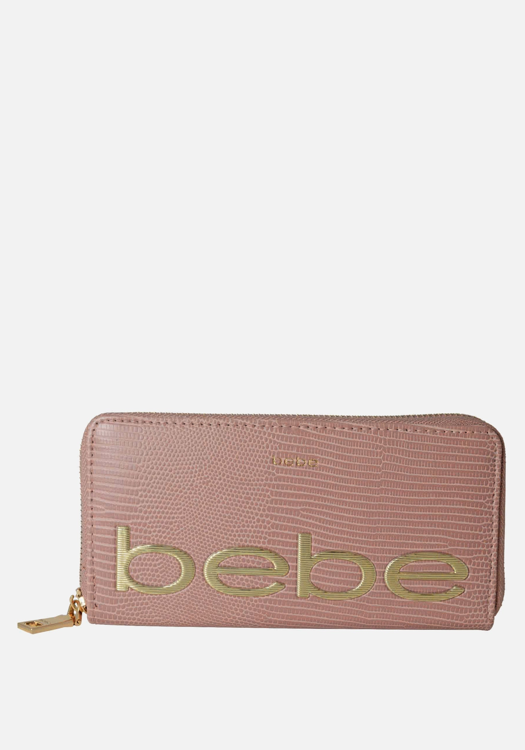 Bebe Women's Fabiola Stamped Lizard Wallet in Dusty Rose Polyester