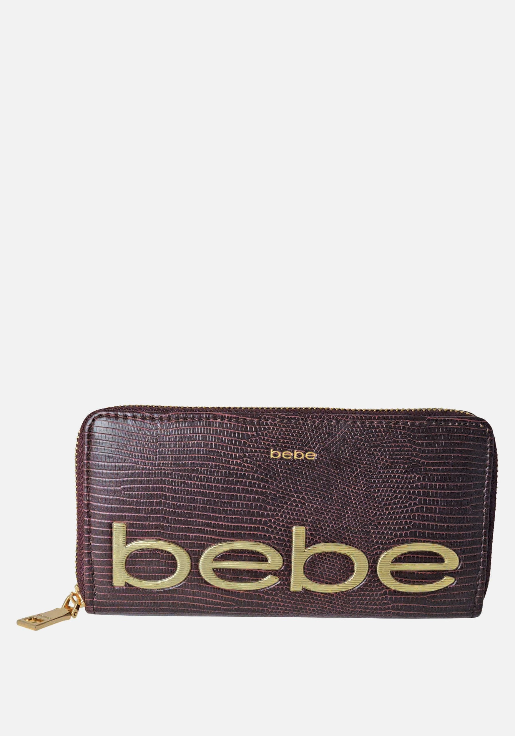 Bebe Women's Fabiola Stamped Lizard Wallet in Wine Polyester