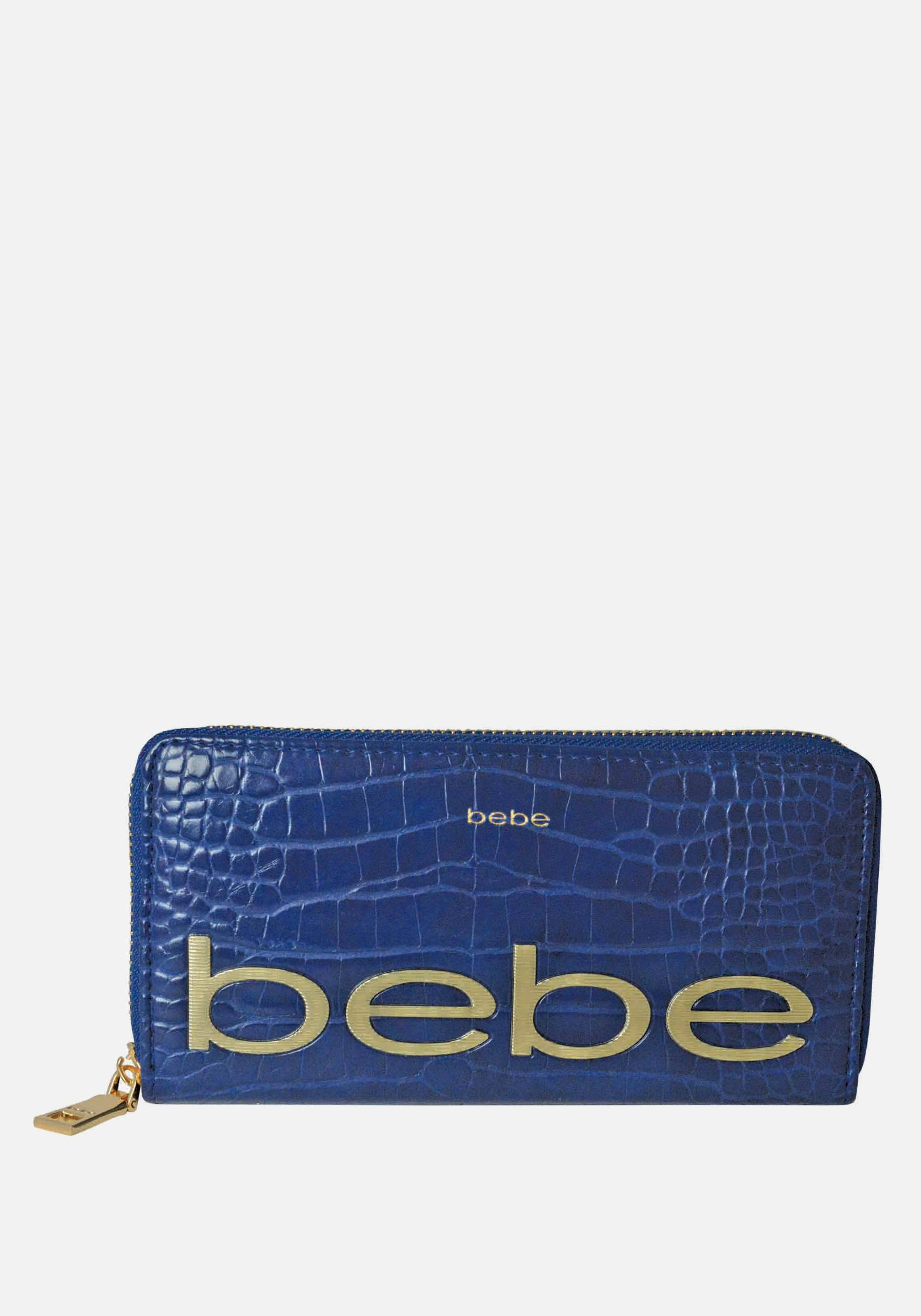 Bebe Women's Fabiola Stamped Wallet in Navy Blue Polyester