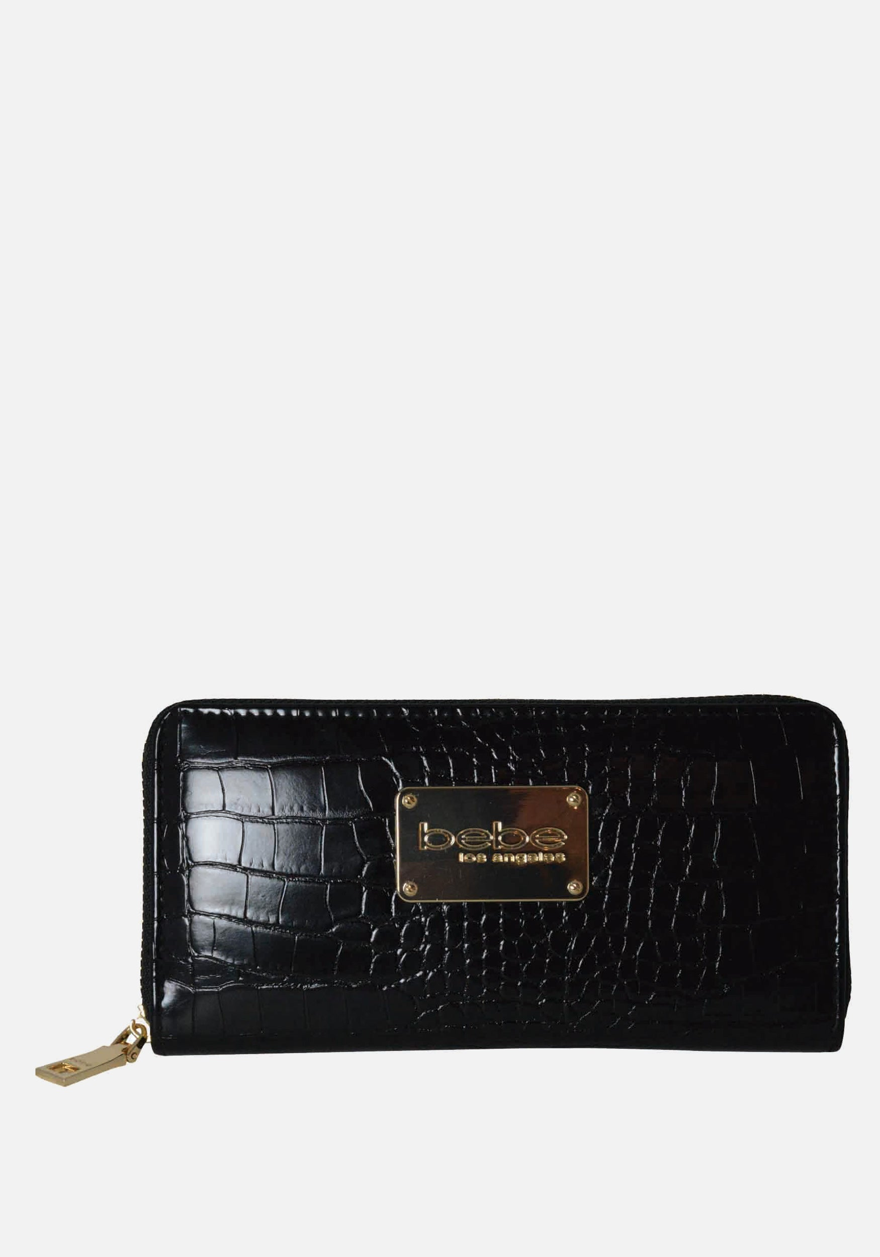 Bebe Women's Natalia Croco Wallet in Black Polyester