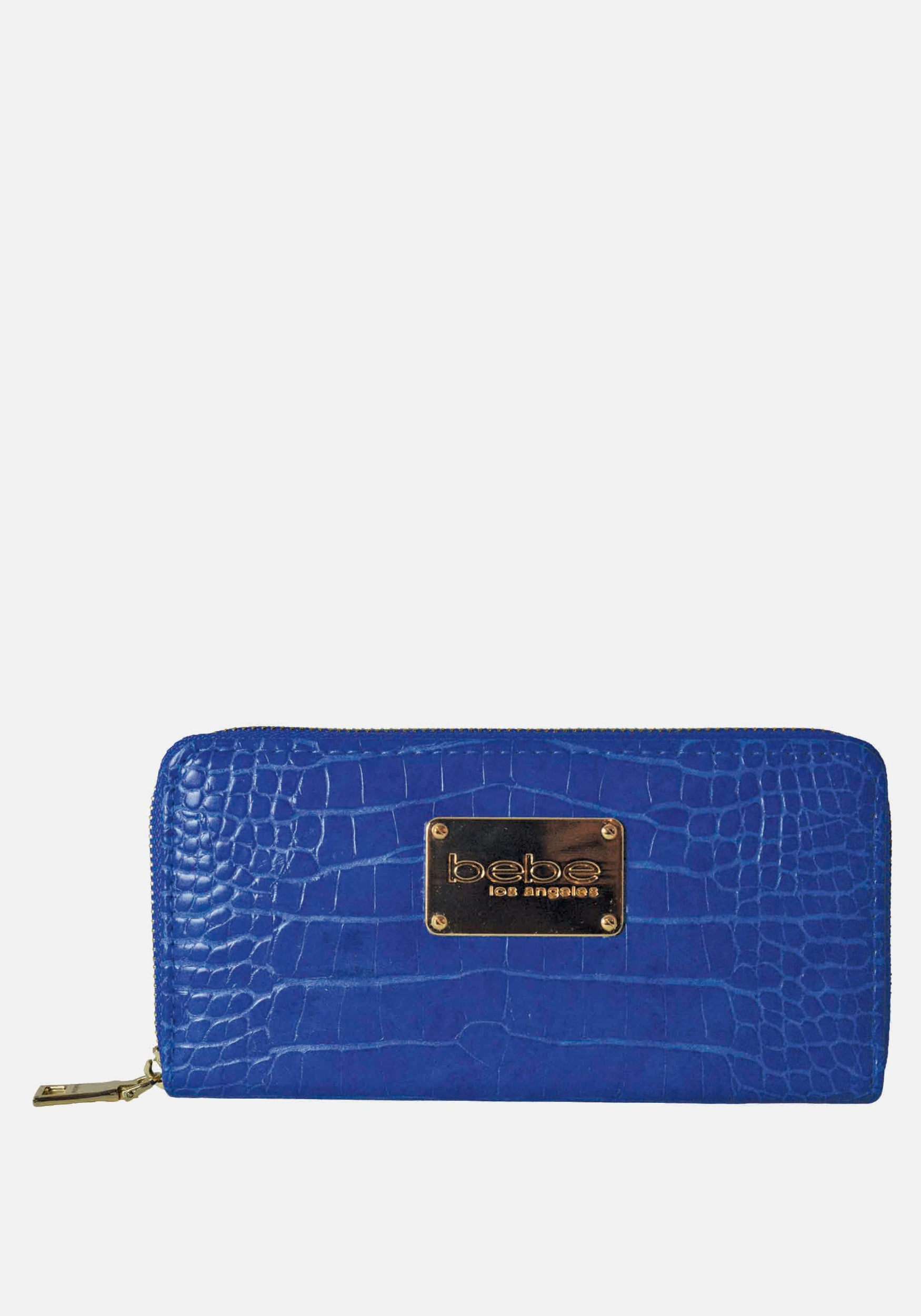Bebe Women's Natalia Croco Wallet in Blue Polyester