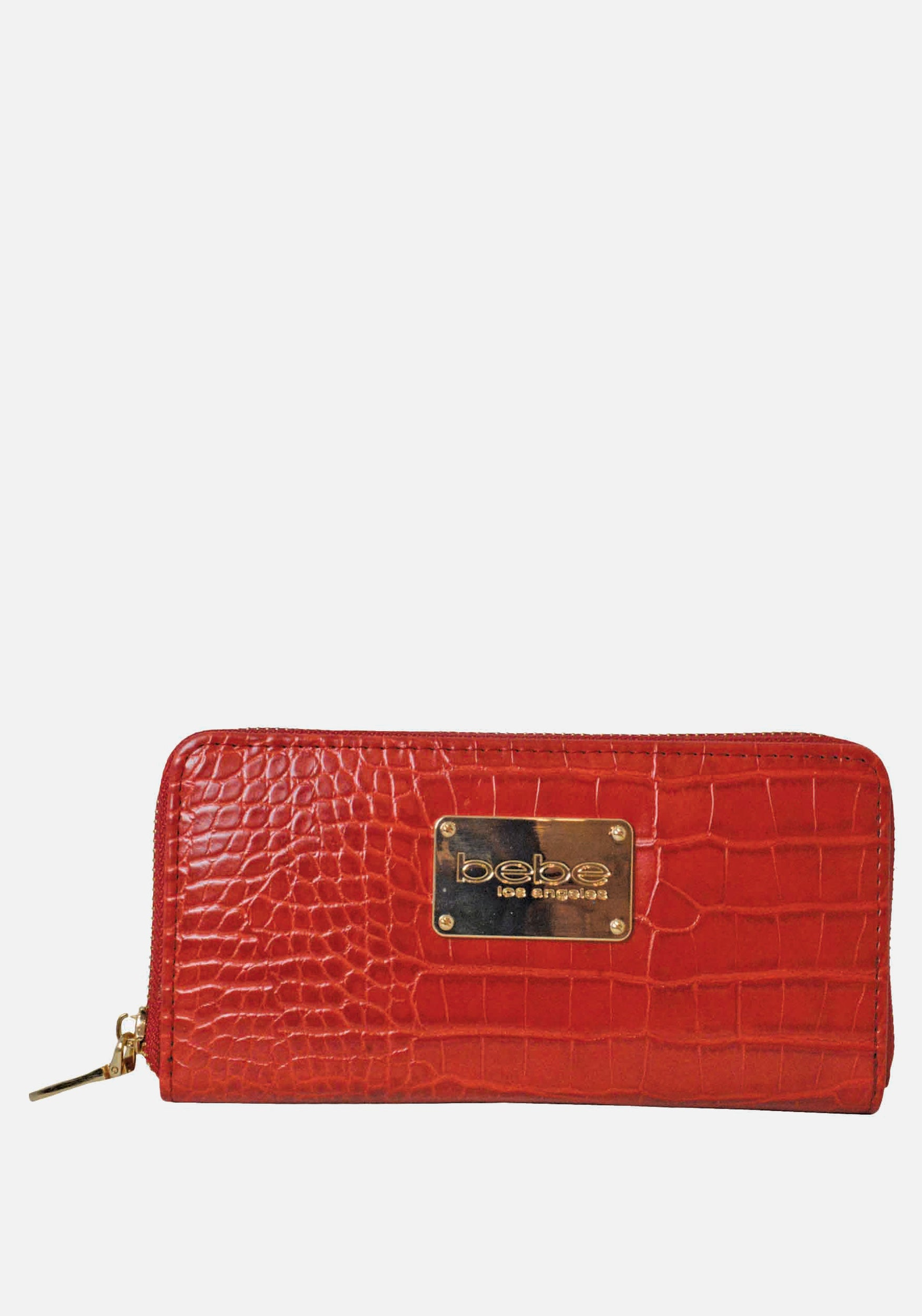 Bebe Women's Natalia Croco Wallet in Candy Apple Polyester