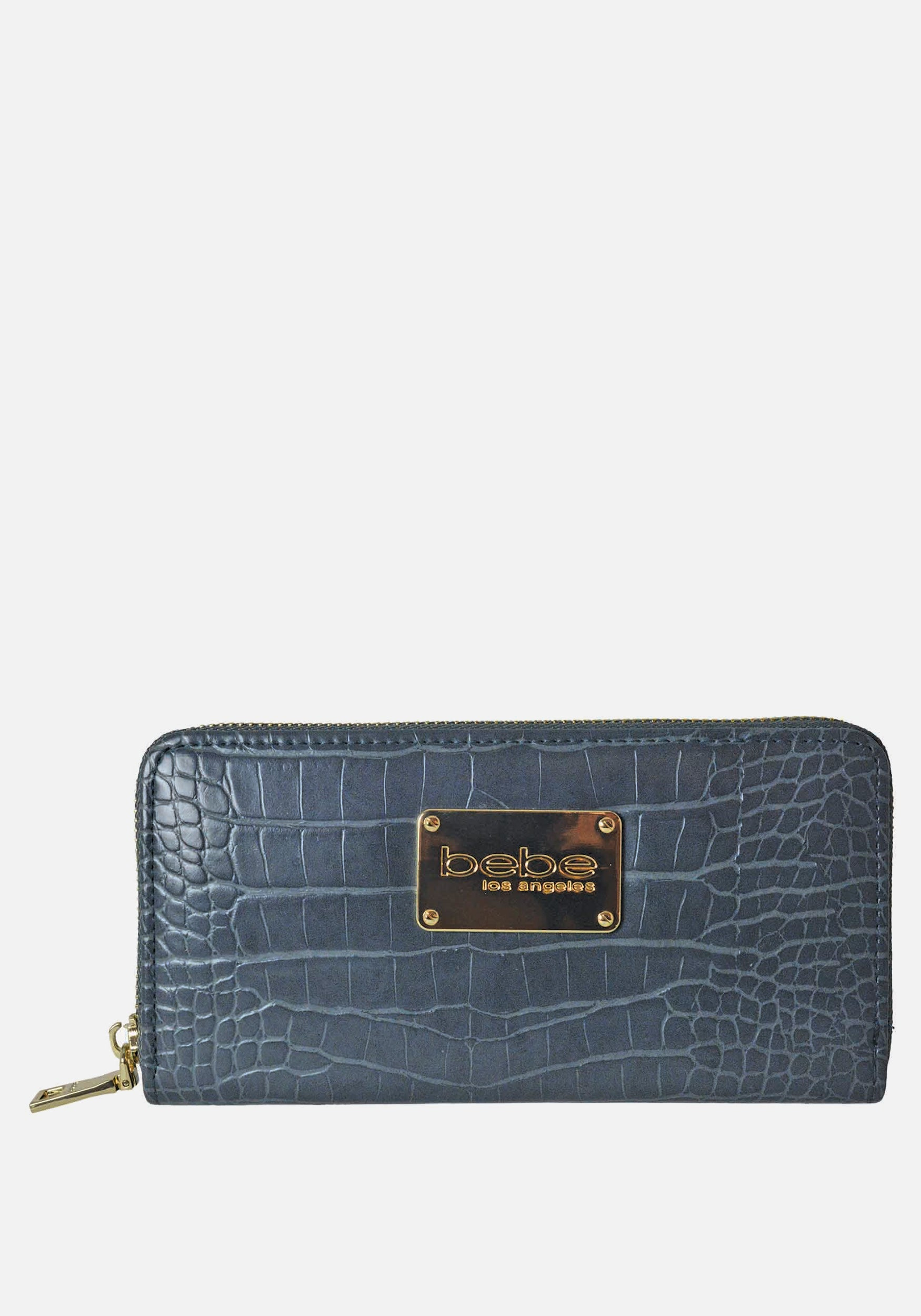 Bebe Women's Natalia Croco Wallet in Grey Polyester