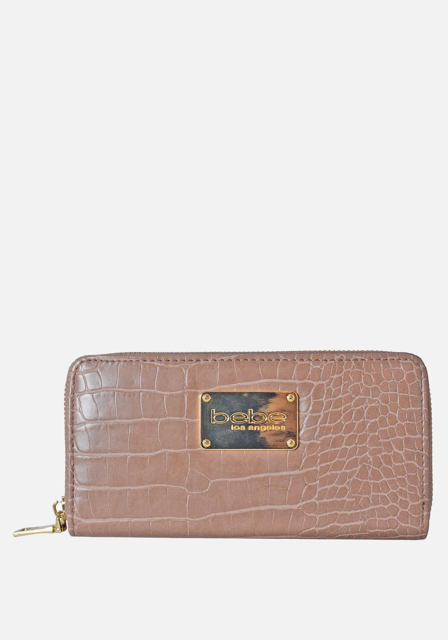 Bebe Women's Natalia Croco Wallet in Mink Polyester