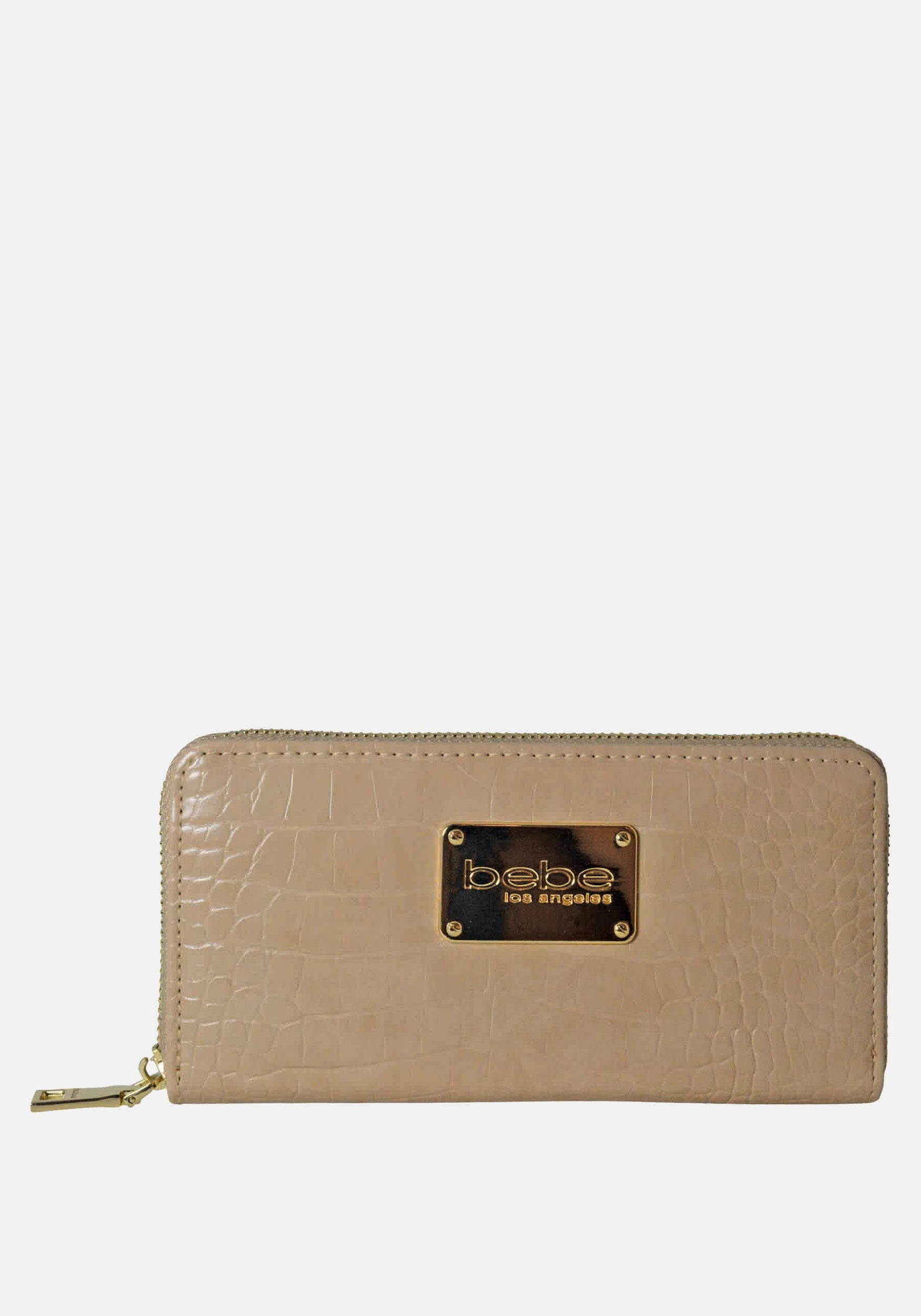 Bebe Women's Natalia Croco Wallet in Taupe Polyester