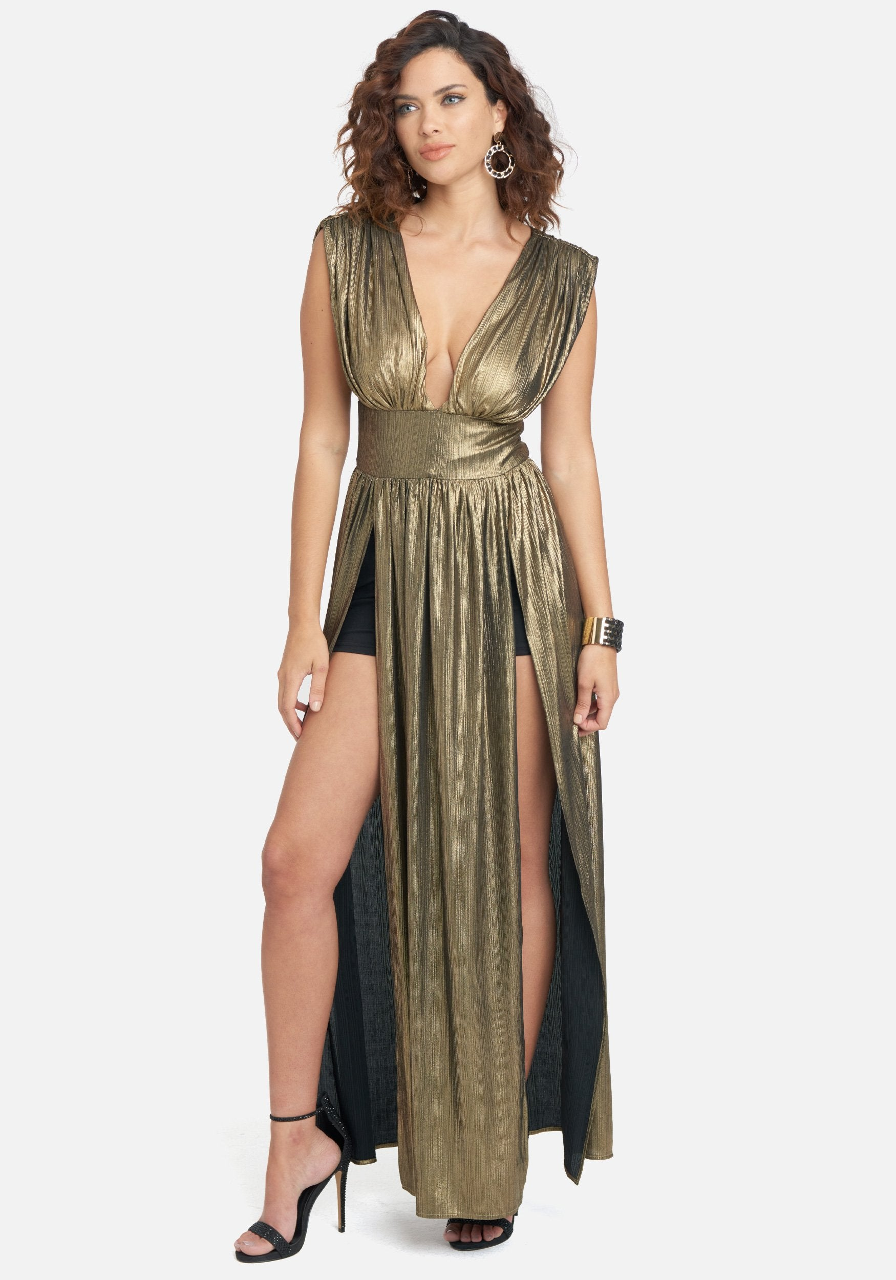Bebe Women's Gold Metallic High Slit Gown, Size XXS Metal/Spandex