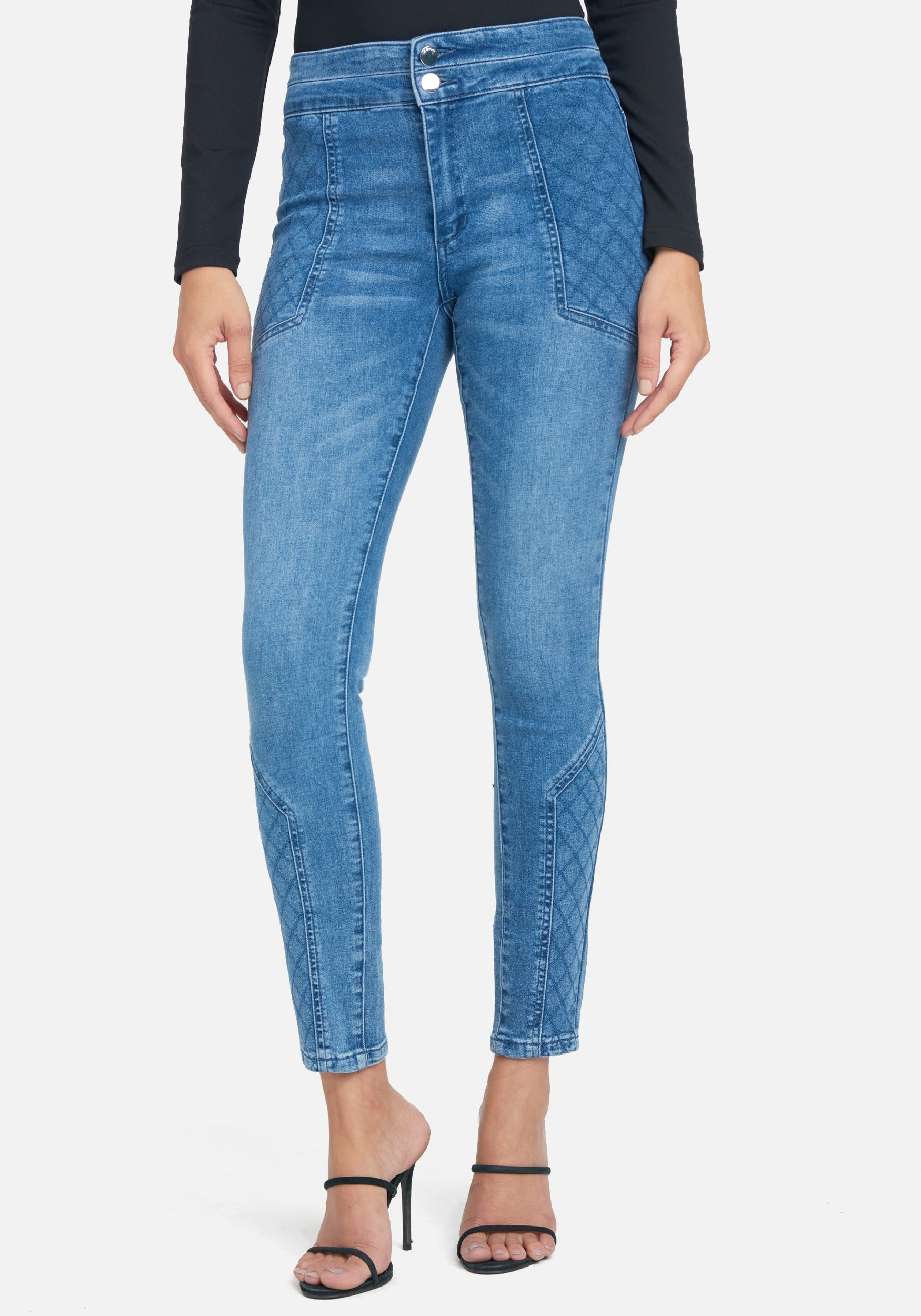 Bebe Women's Quilted Stitch Skinny Jeans, Size 25 in Medium Blue Wash Cotton/Spandex