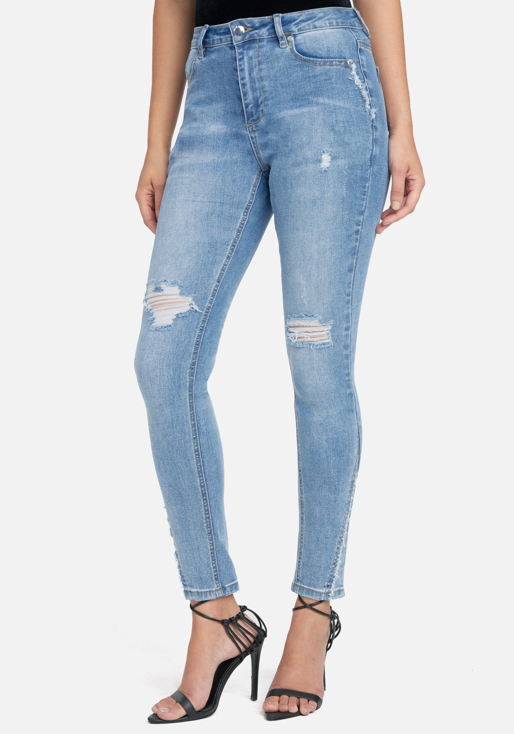 Bebe Women's Light Wash Skinny Jeans, Size 25 in Light Blue Wash Cotton/Spandex
