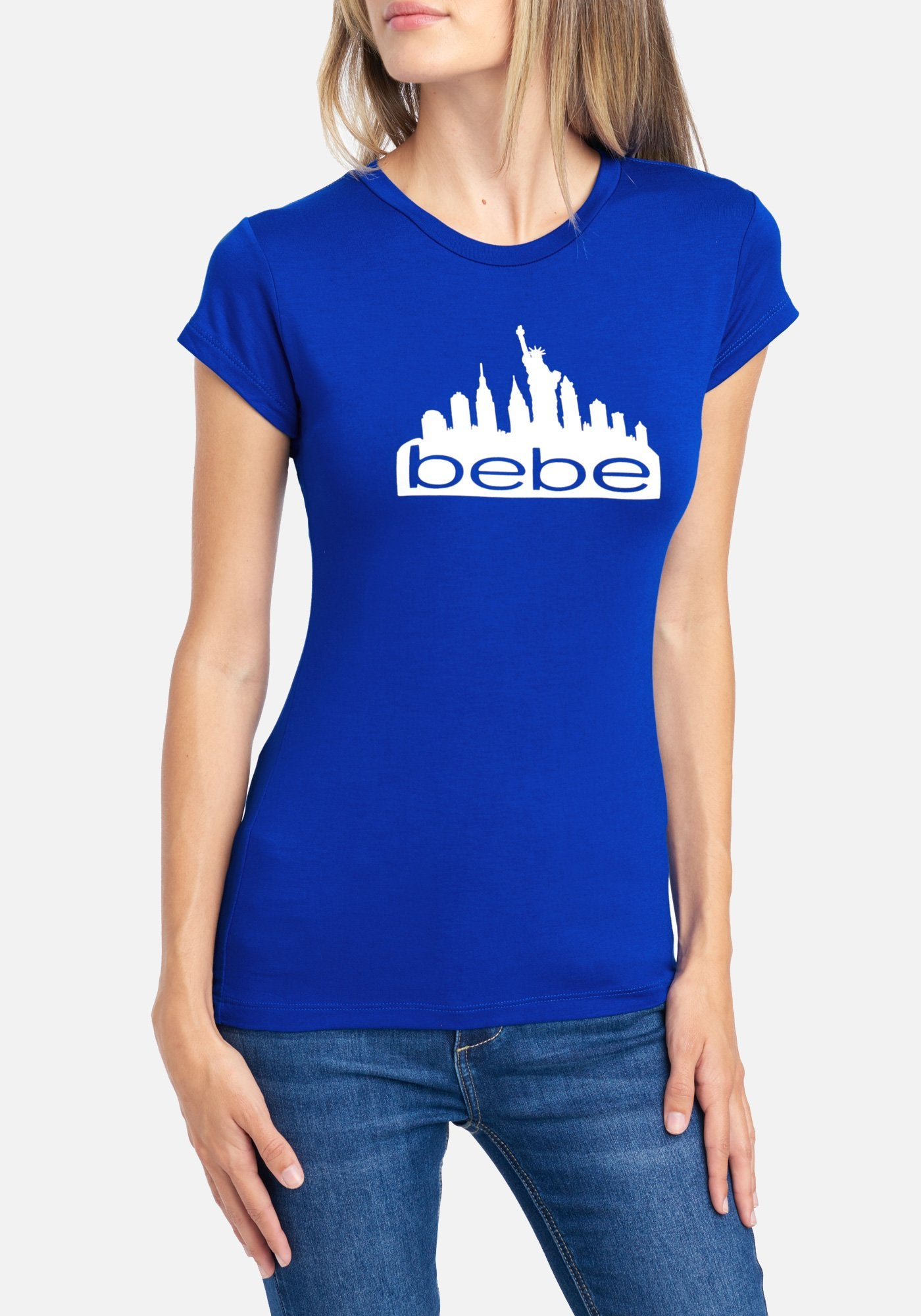 Image of Women's Bebe Logo Ny Screen Tee Shirt, Size XL in Surf The Web Spandex
