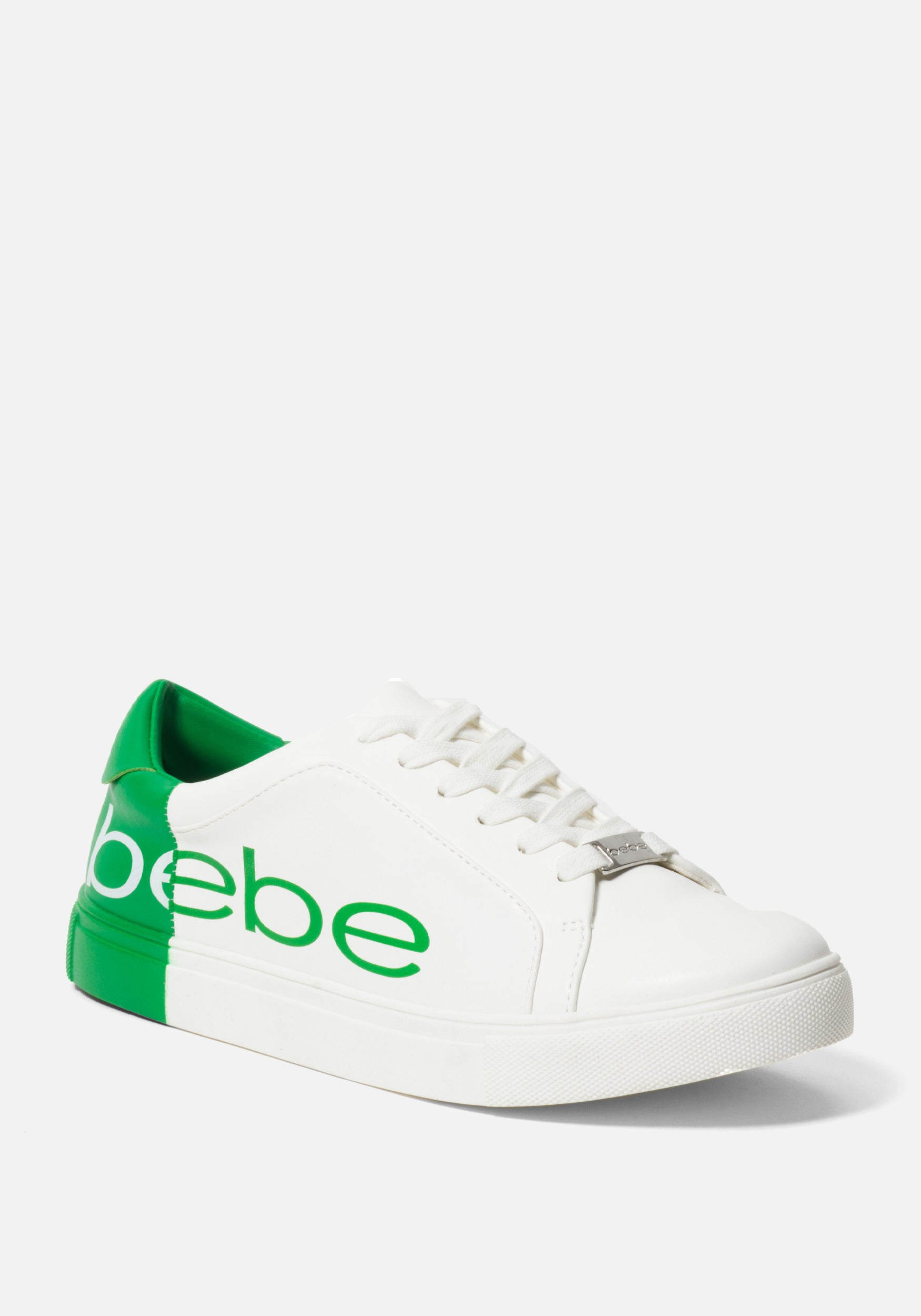 Women's Charley Bebe Logo Sneakers, Size 6 in WHITE/GREEN Synthetic