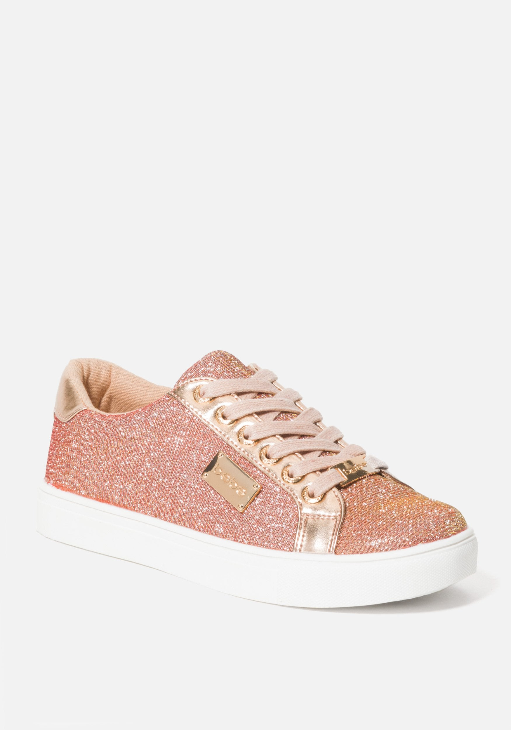 Bebe Women's Calais Platform Sneakers, Size 6 in ROSE GOLD MESH Synthetic