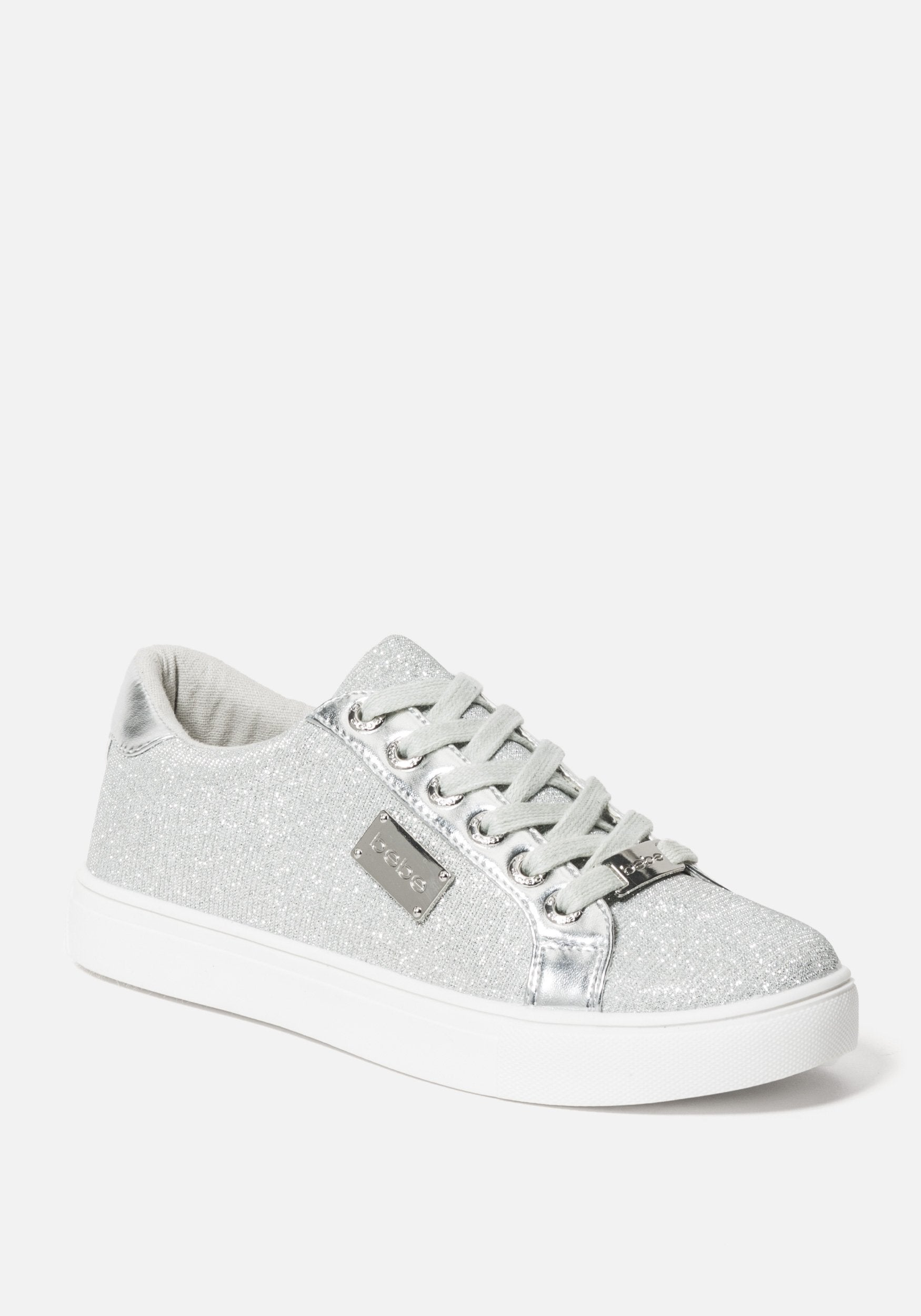 Bebe Women's Calais Platform Sneakers, Size 6 in SILVER MESH Synthetic
