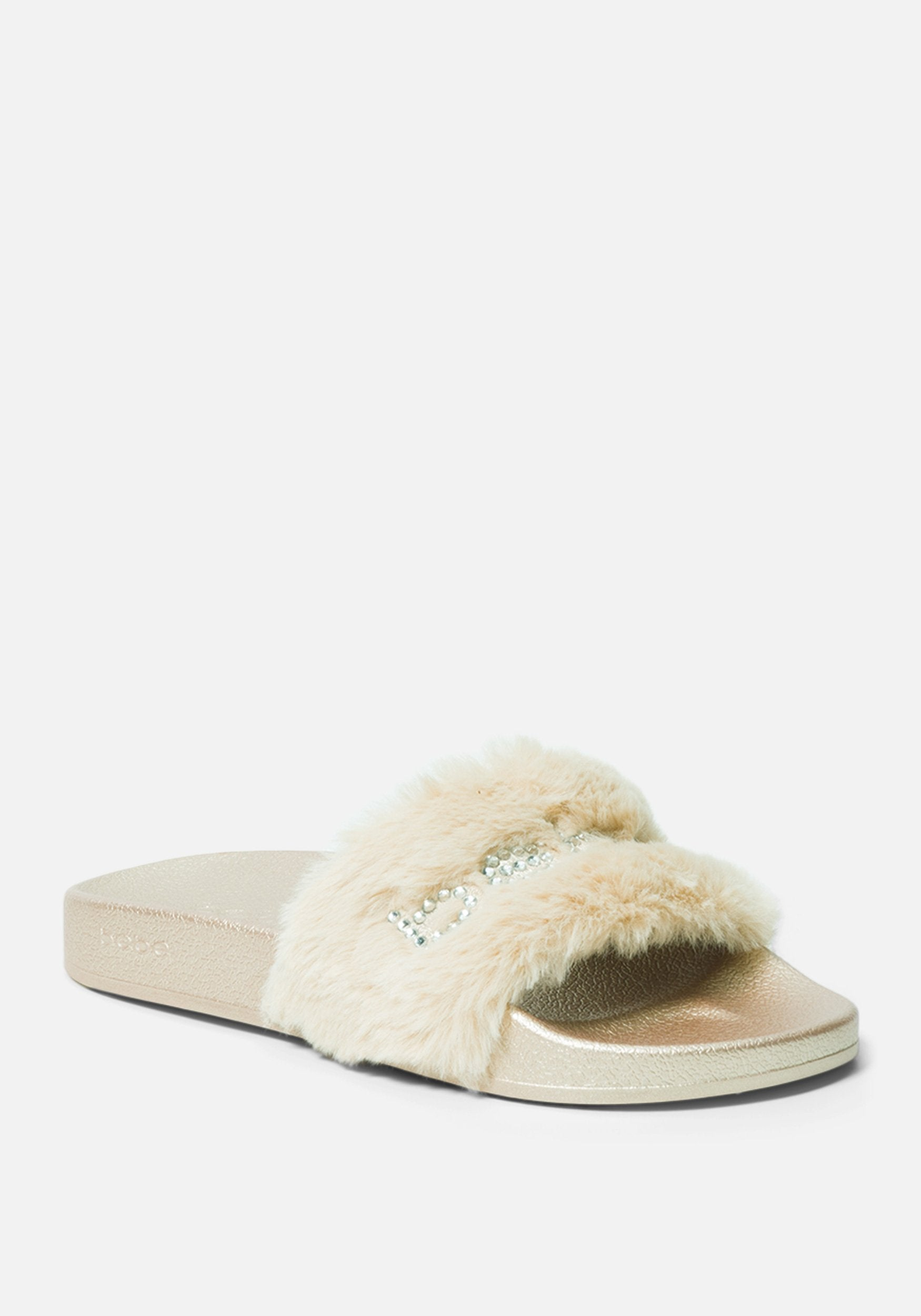 Bebe Women's Furiosa Faux Fur Slides Shoe, Size 6 in GOLD Synthetic