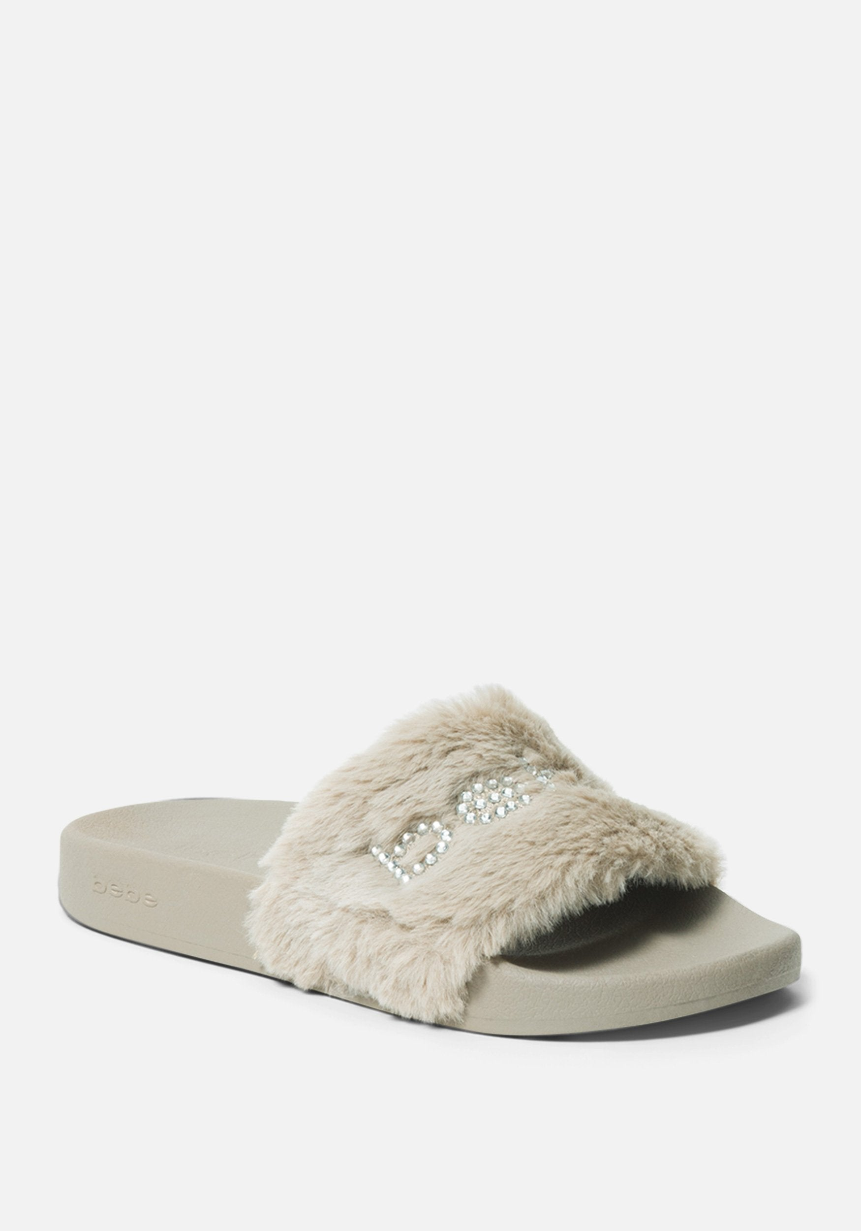 Bebe Women's Furiosa Faux Fur Slides Shoe, Size 6 in OYSTER Synthetic