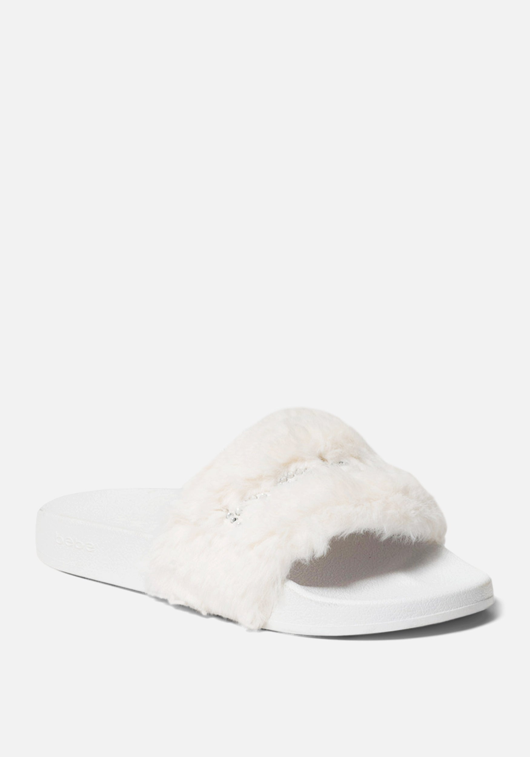 Bebe Women's Furiosa Faux Fur Slides Shoe, Size 6 in WHITE Synthetic