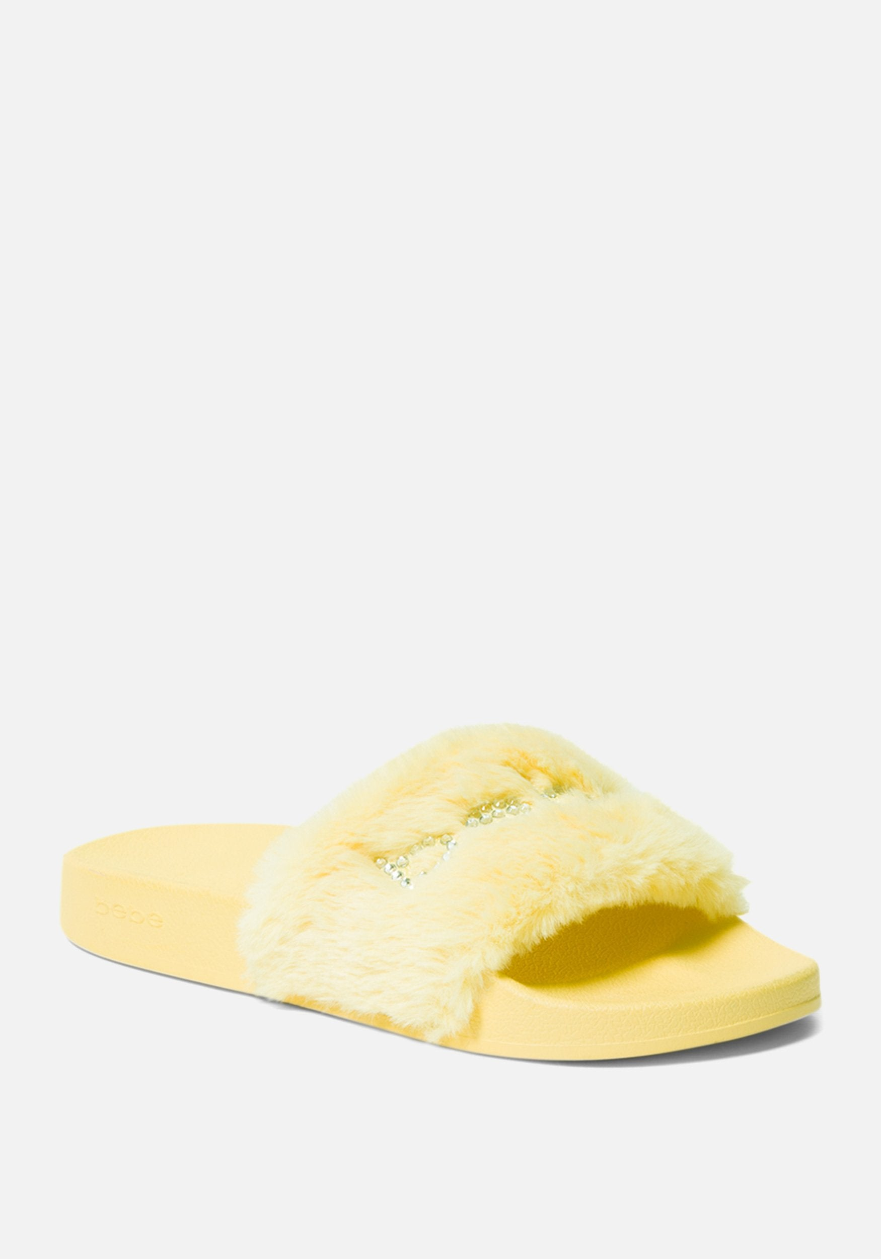 Bebe Women's Furiosa Faux Fur Slides Shoe, Size 6 in YELLOW Synthetic