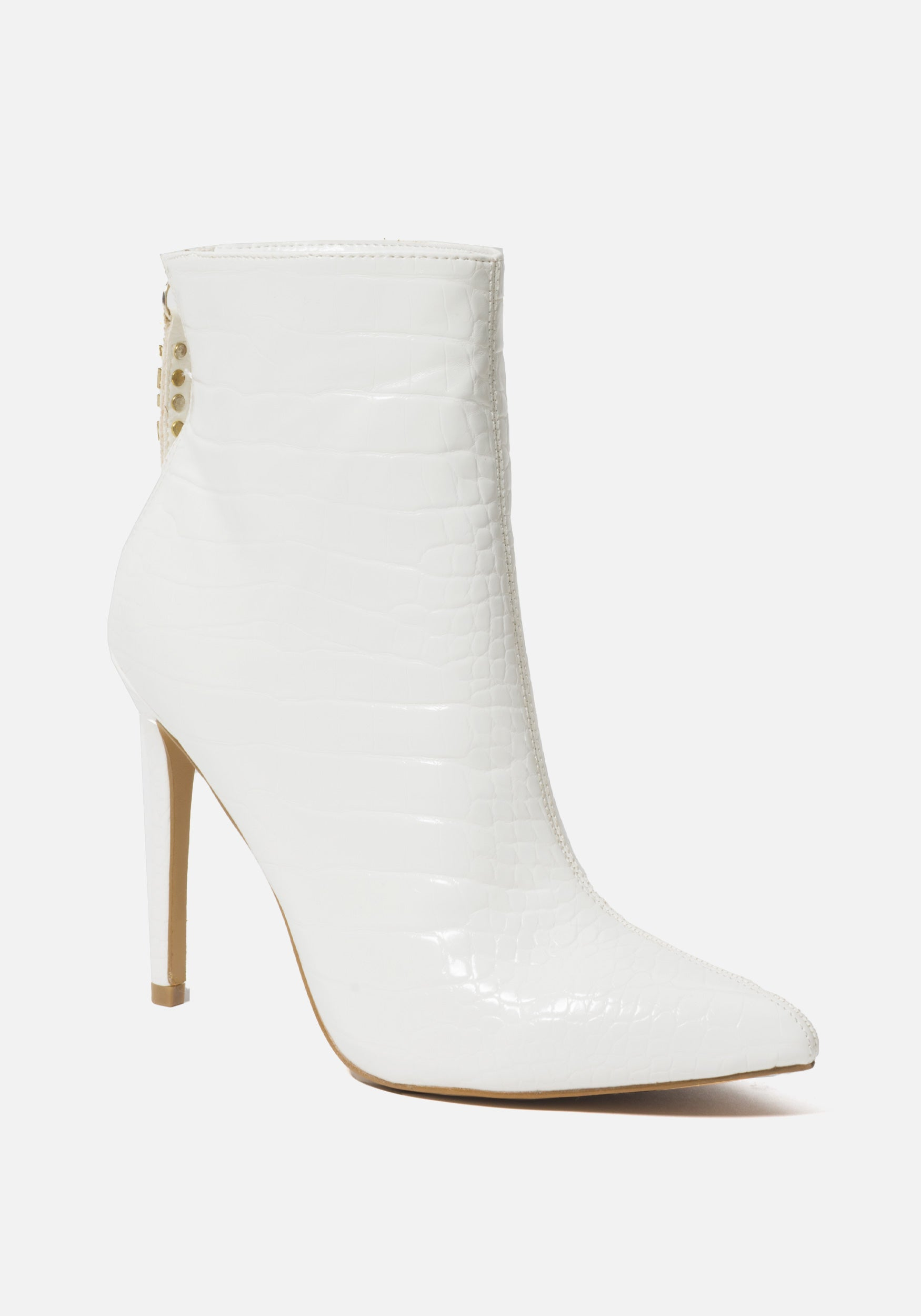 Bebe Women's Dasha Stiletto Booties, Size 6 in WHITE CROC FAUX Synthetic
